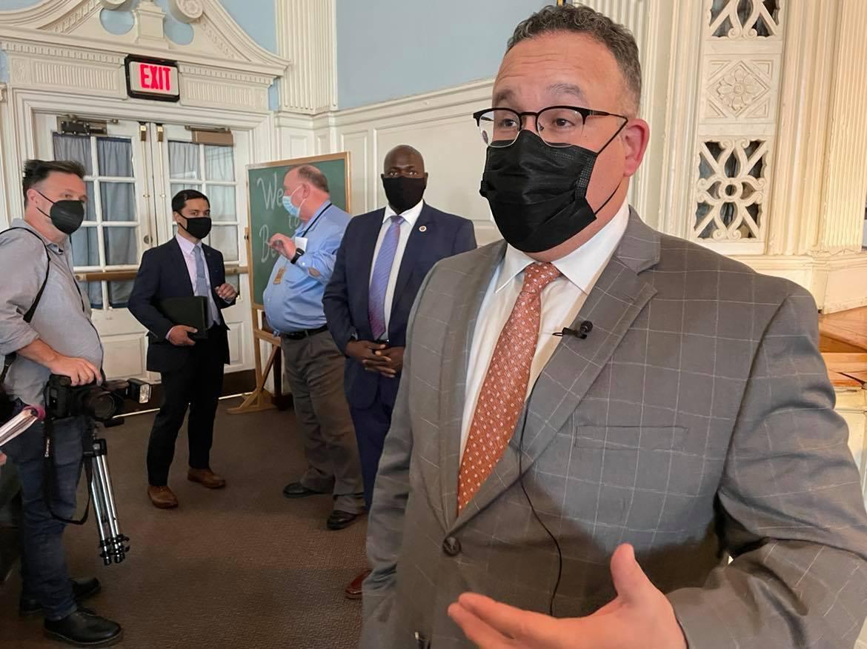 Secretary of Education Miguel Cardona visits Philadelphia on April 6, 2021.