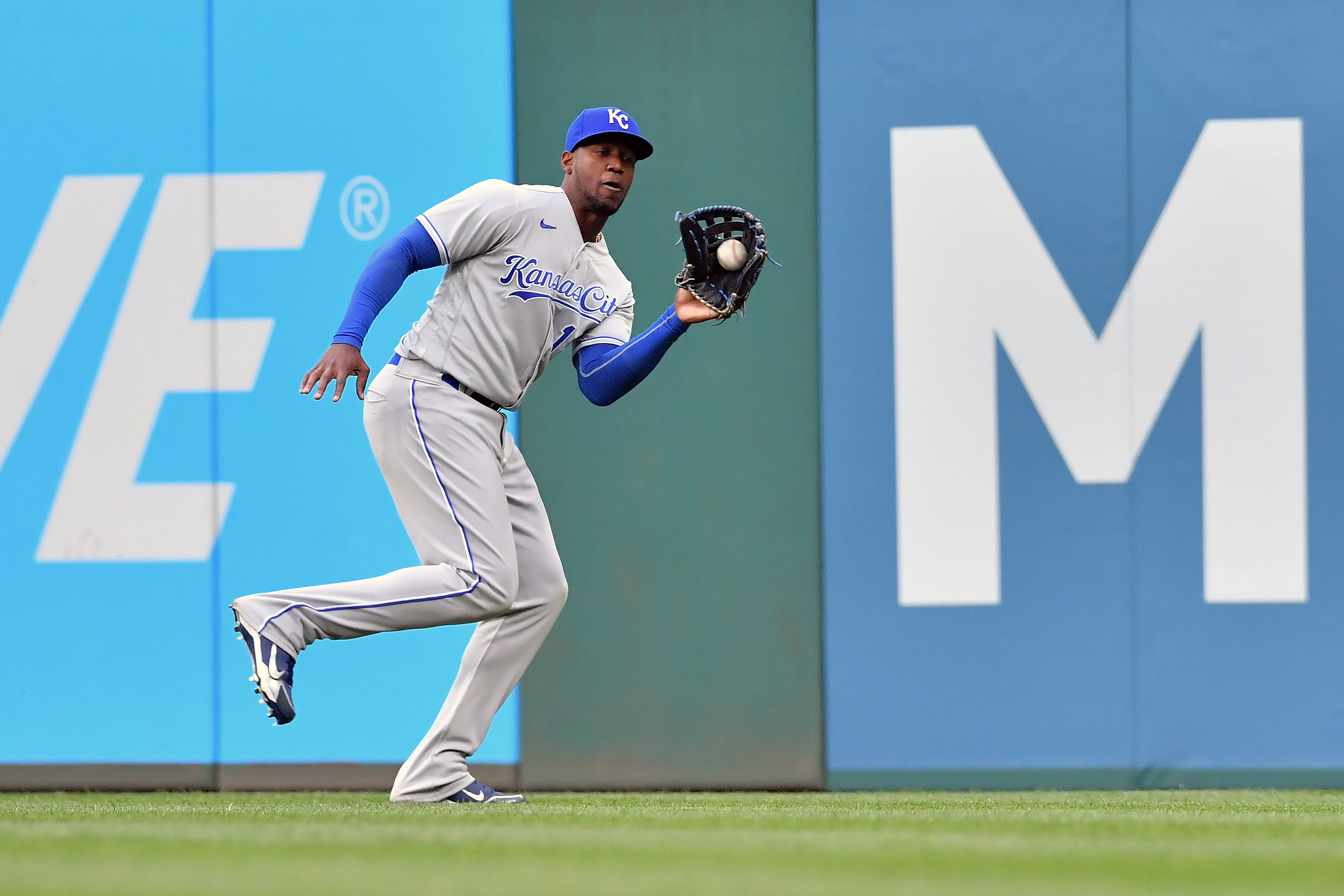 Right fielder Jorge Soler #12 of the Kansas City Royals catches a fly ball hit by Amed Rosario #1 of the Cleveland Indians during the seventh inning of the home opener at Progressive Field on April 05, 2021 in Cleveland, Ohio.