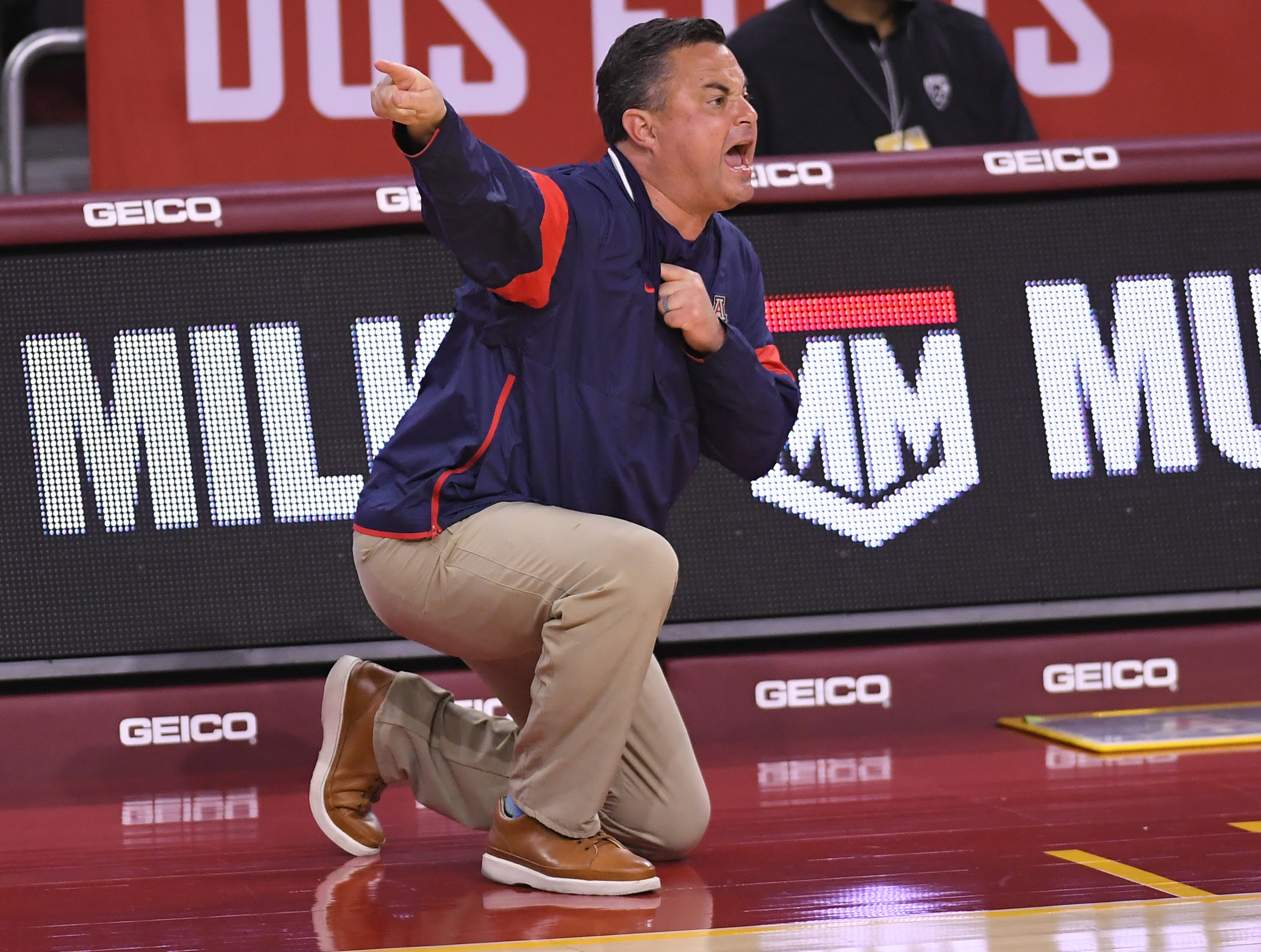 Head coach Sean Miller of the Arizona Wildcats on the sideline while playing the USC Trojans at Galen Center on February 20, 2021 in Los Angeles, California.