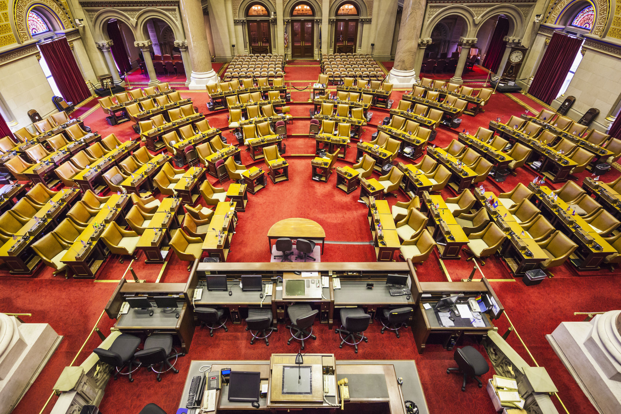 USA, New York, Hudson Valley, Albany, New York State Capitol Building, New York State Assembly Chamber