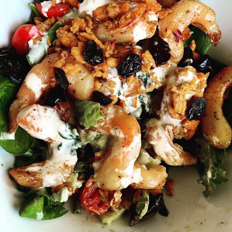 "vegan ""shrimp"" with walnuts and cranberries"