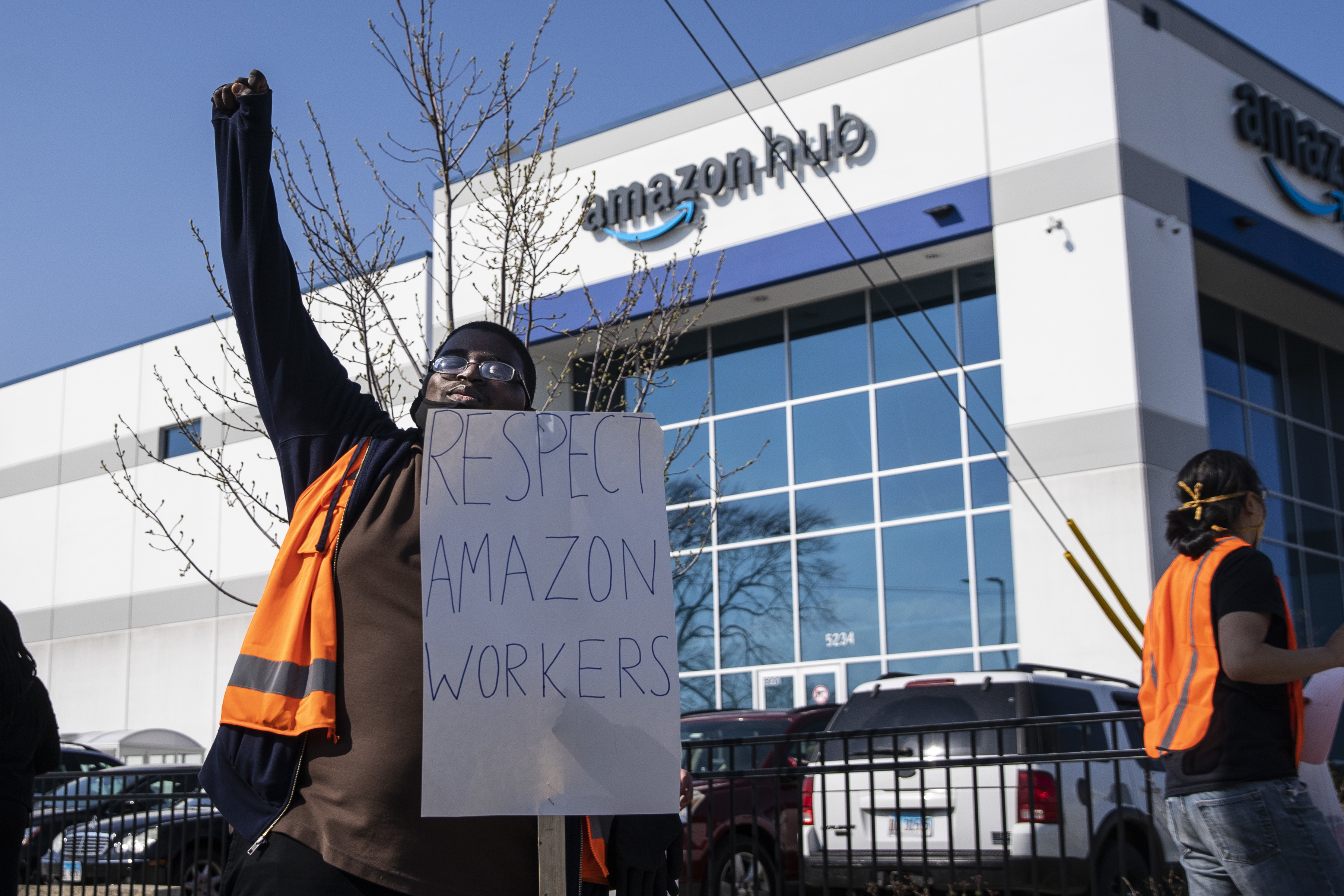 Rakyle Johnson, a sorter, joins about a dozen fellow Amazon workers in a walkout and protest on Wednesday, April 7, 2021 to demand better working conditions at the online retailer's Gage Park facility, 3507 W. 51st St.