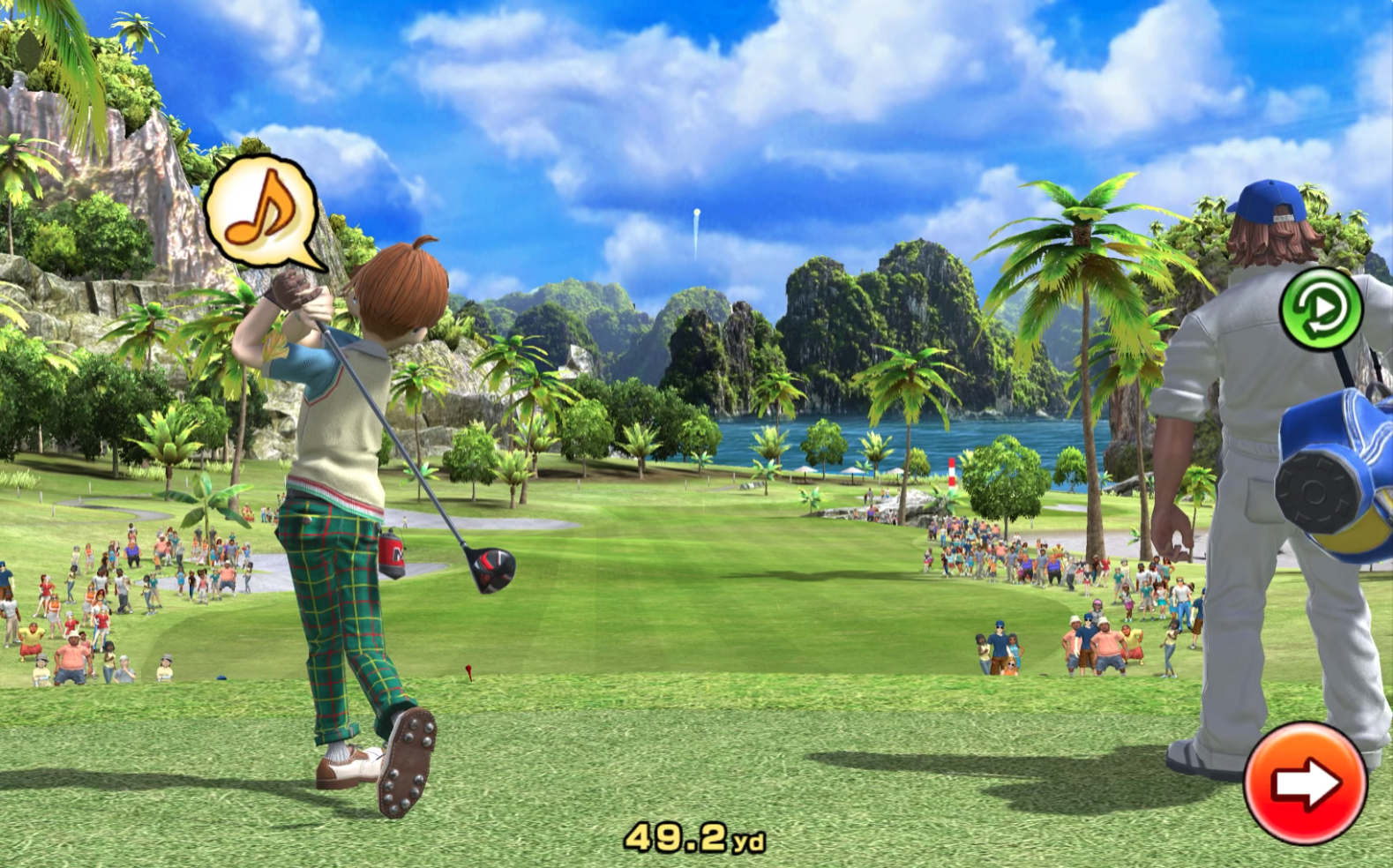 A lanky boy in plaid pants whistles an eighth-note on the follow through to his tee shot in Clap Hanz Golf
