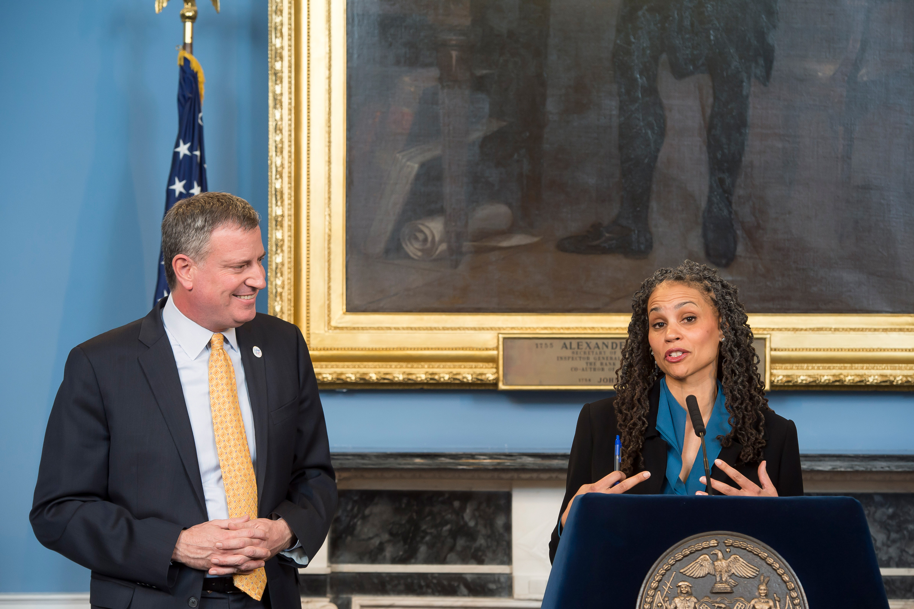 Mayor Bill de Blasio announces Maya Wiley's appointment as counselor to the mayor in City Hall's Blue Room, on February 18, 2014.
