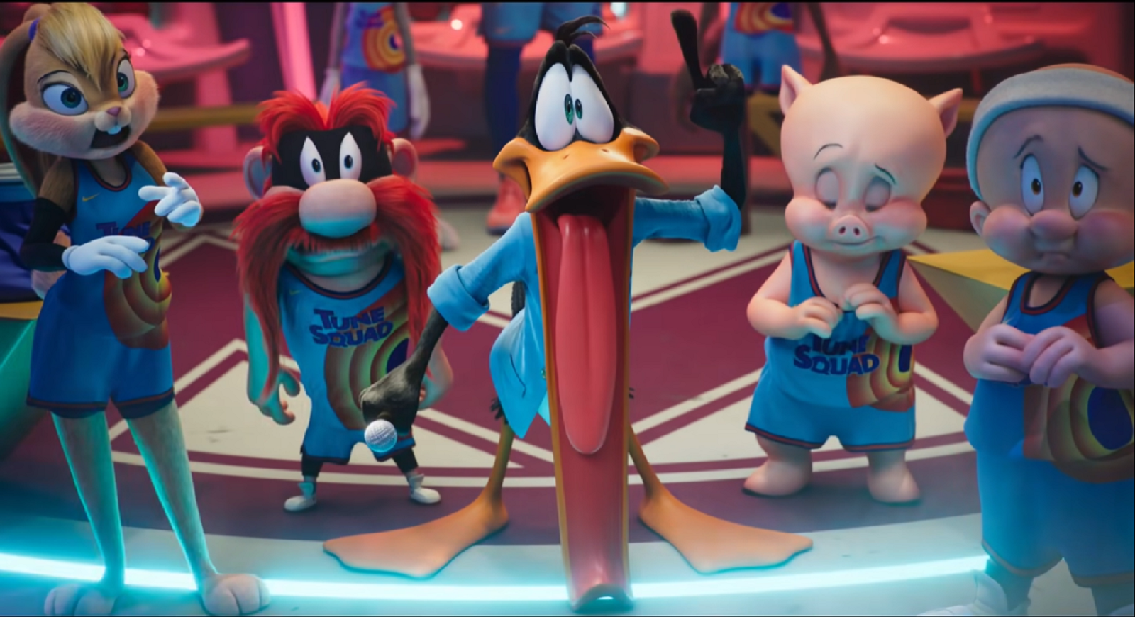 Daffy Duck's mouth falls open after seeing the Goon Squad in Space Jam: A New Legacy