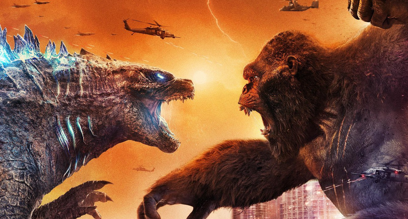 Godzilla and Kong fighting.