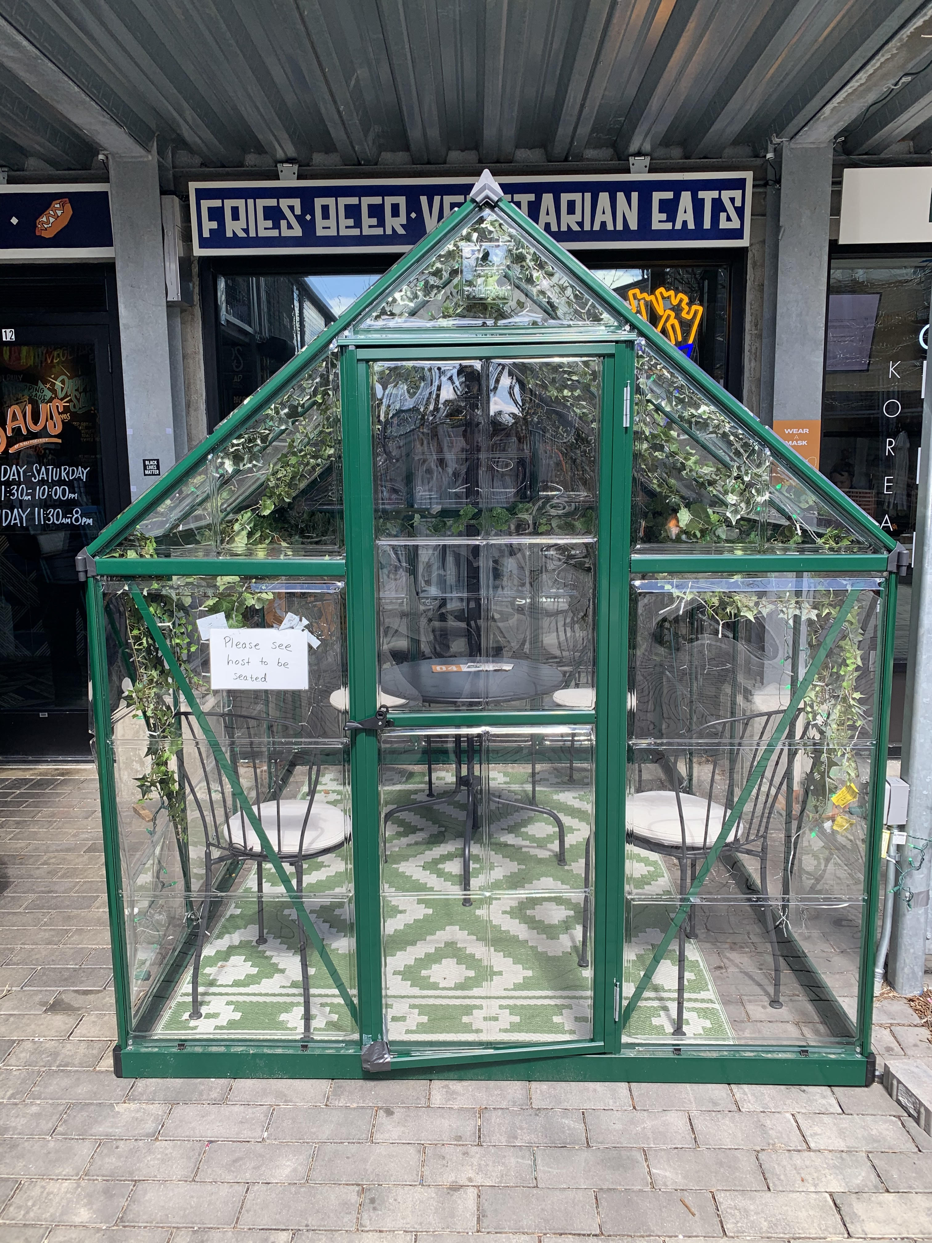 A dining greenhouse at Bow Market