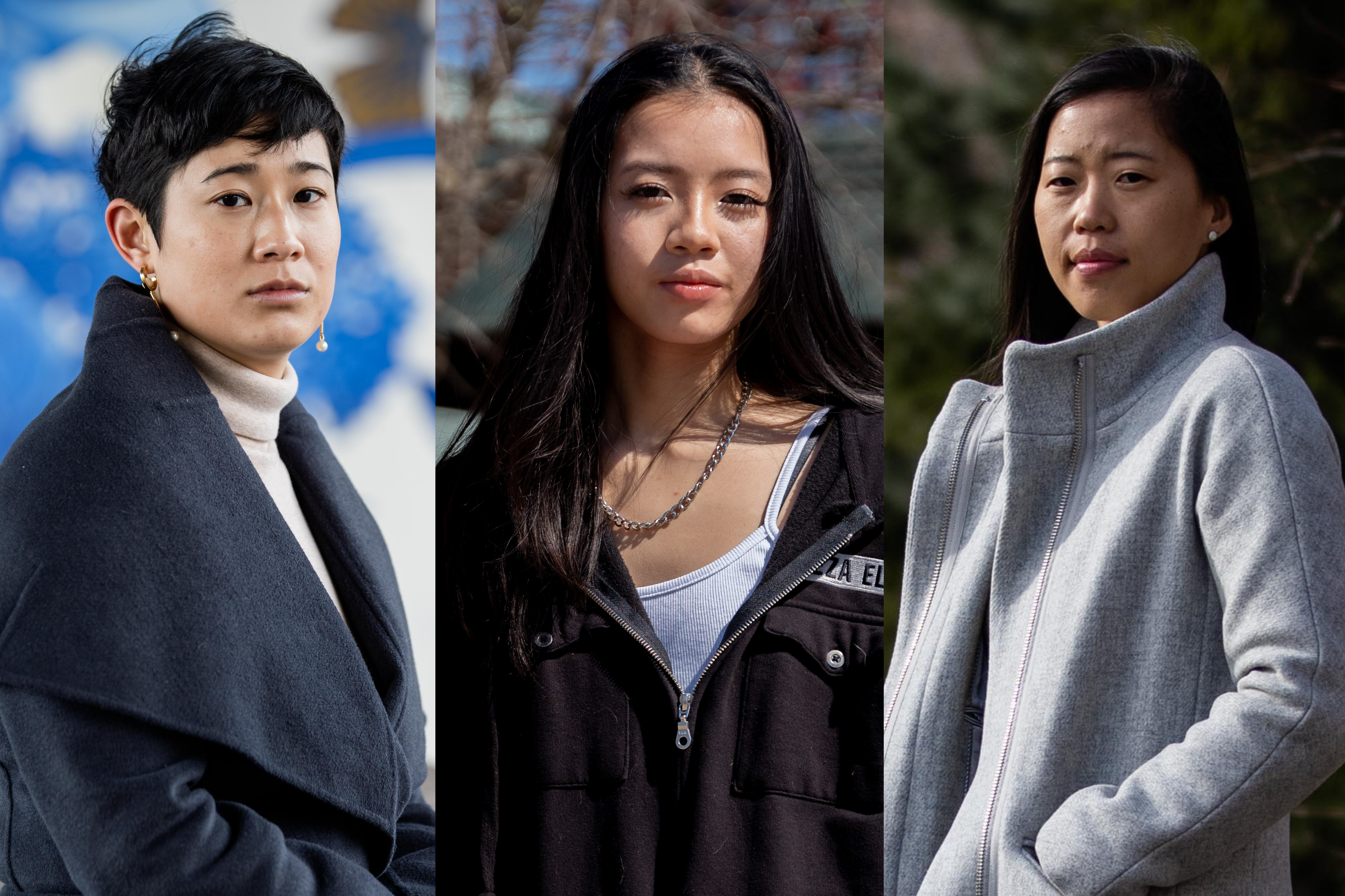 Catherine Shieh (from left), Milana Dam and Jaye Hobart: The pandemic and anti-Asian violence have put added stresses on Asian Americans.