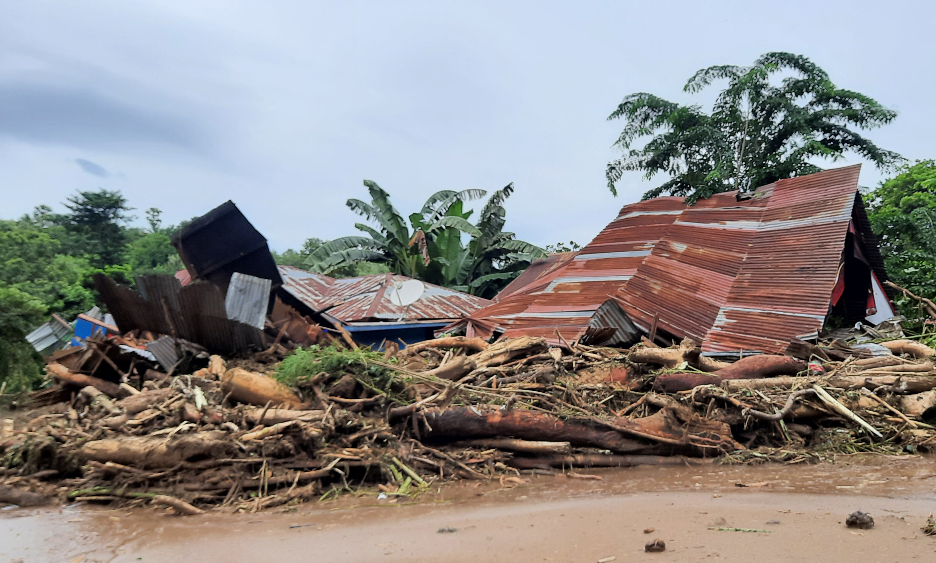 A home flattened by a cyclone.