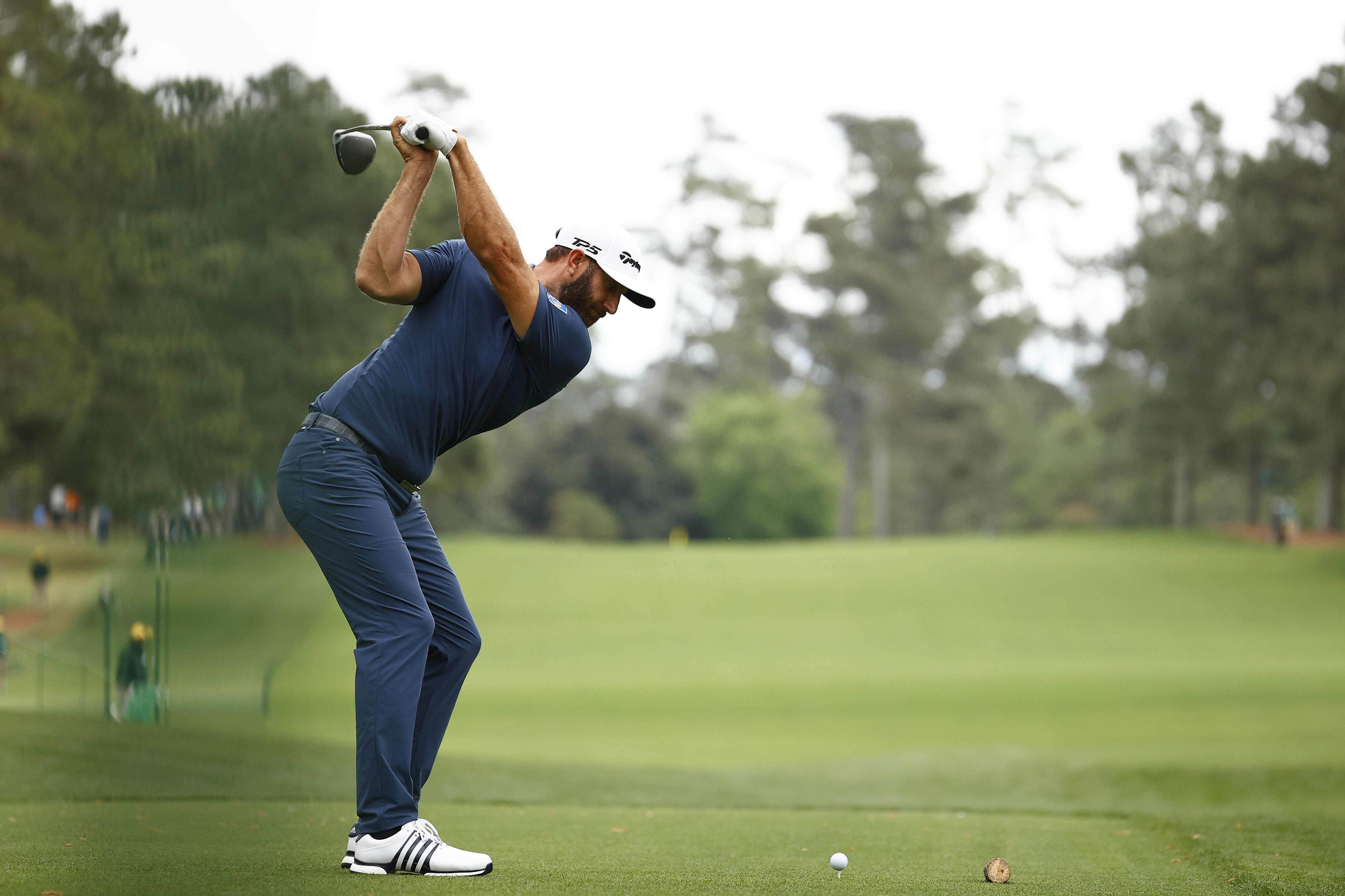 Dustin Johnson of the United States plays his shot from the 17th tee during the second round of the Masters at Augusta National Golf Club on April 09, 2021 in Augusta, Georgia.
