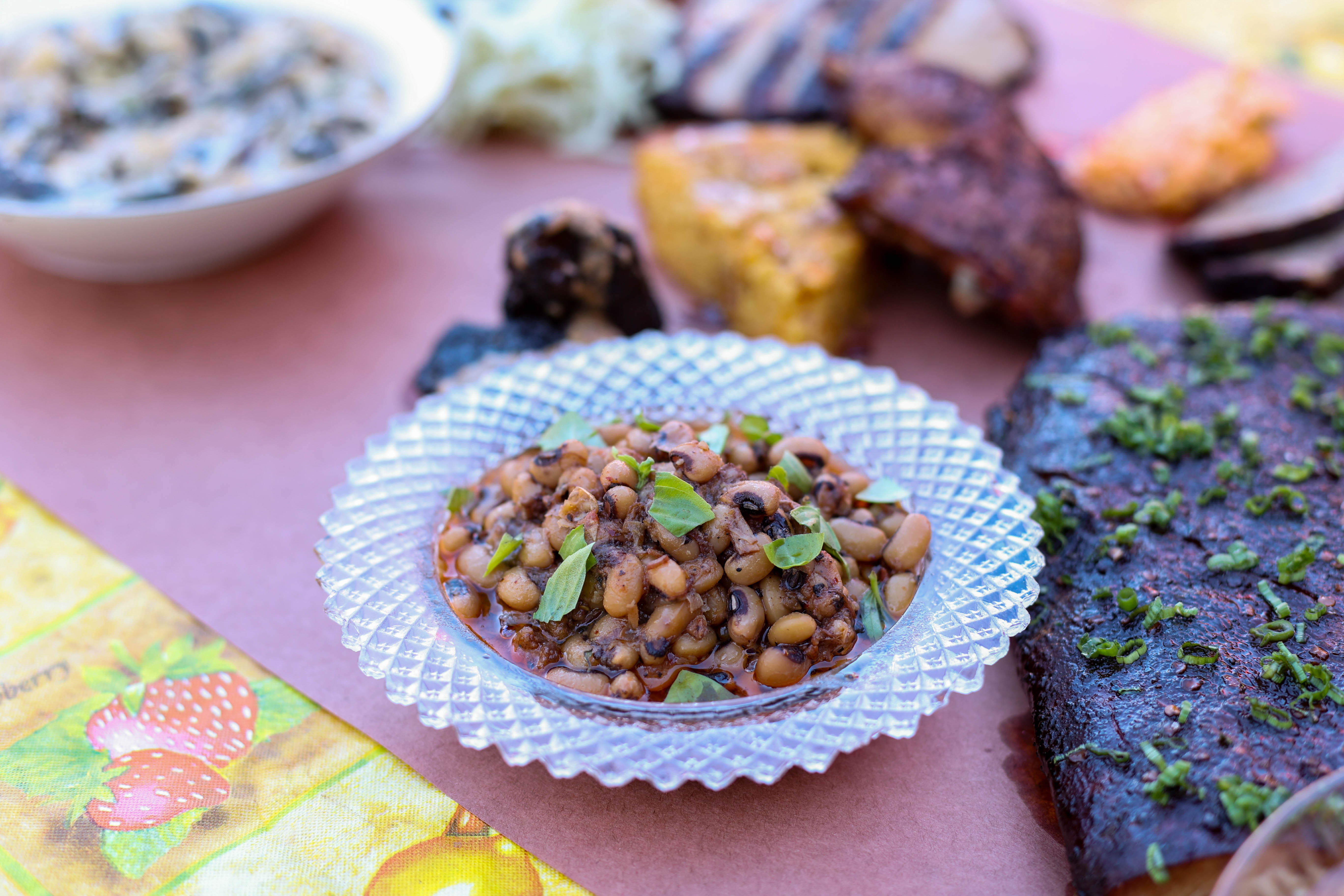 A bowl of black-eyed peas on a table