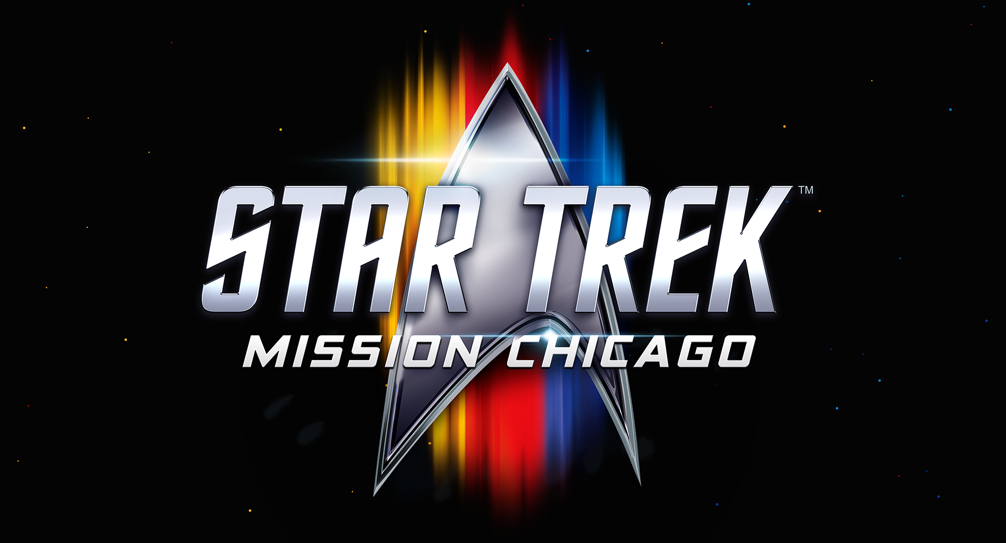 The Star Trek: Mission Chicago logo. The next official Star Trek convention will be held at McCormick Place in downtown Chicago from April 8 to 10, 2022.