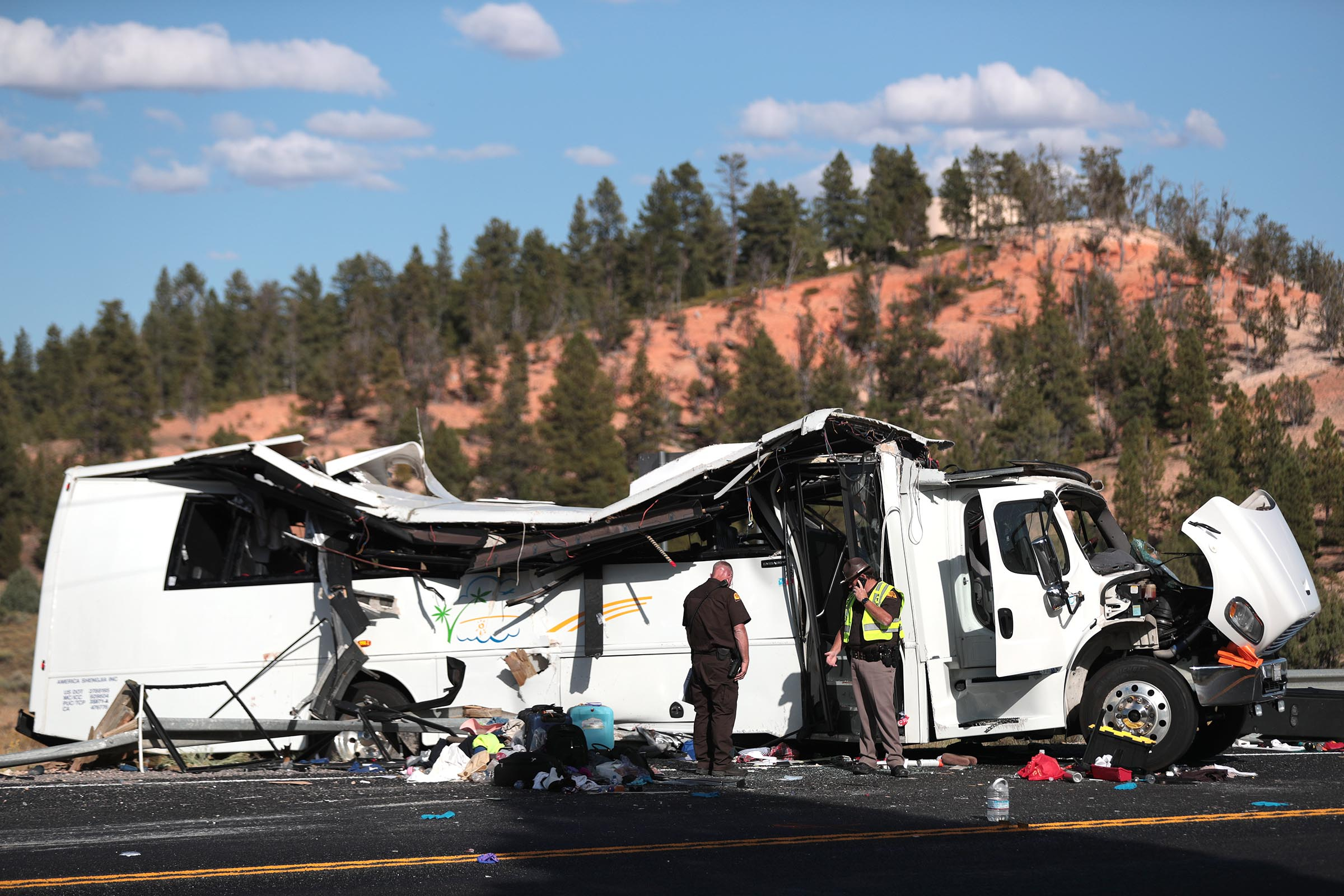 At least four people were killed in a tour bus crash near Bryce Canyon National Park on Friday, Sept. 20, 2019. Local hospitals are treating another 17 patients.