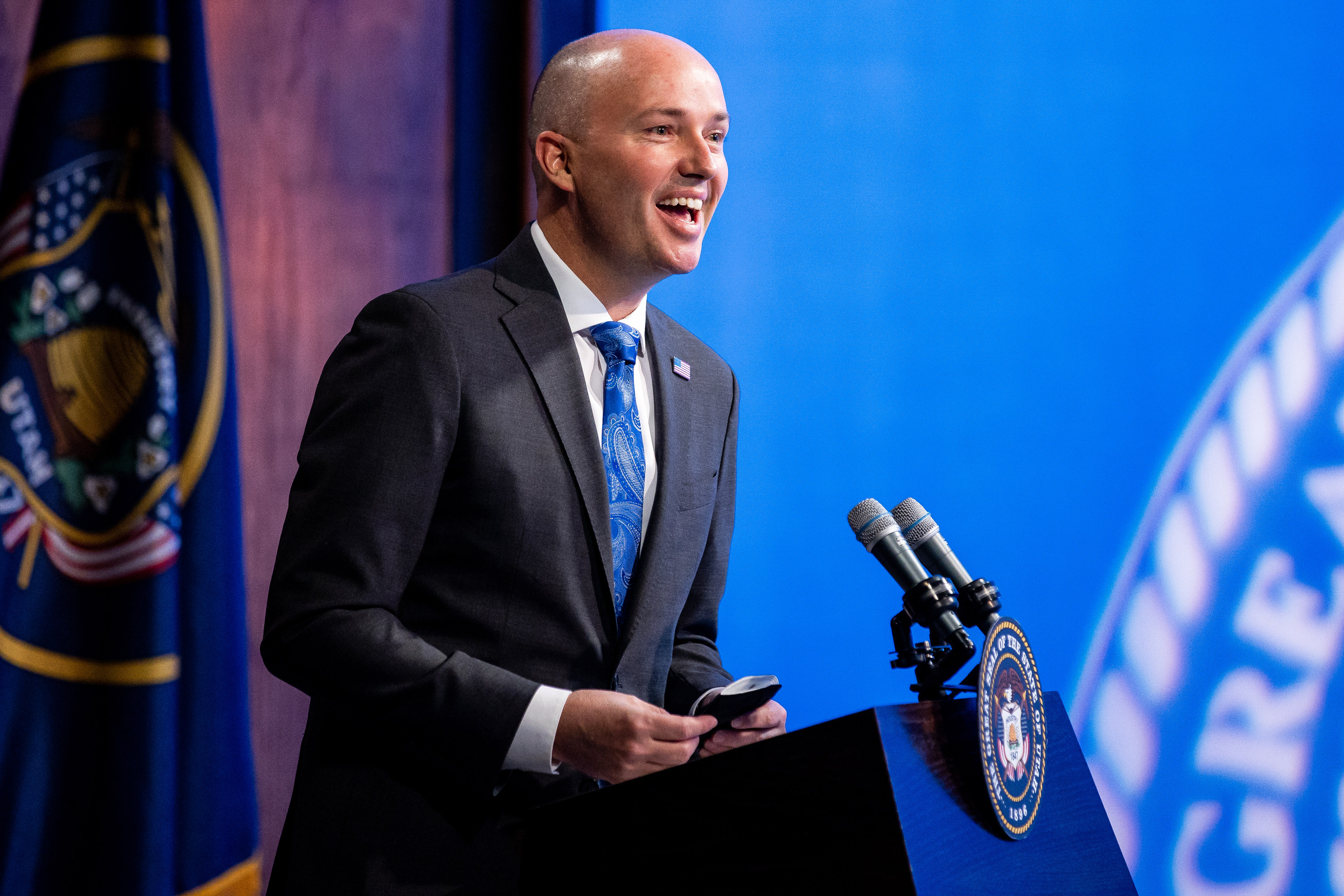 Gov. Spencer Cox speaks during his monthly news conference at PBS Utah in Salt Lake City on March 18, 2021.