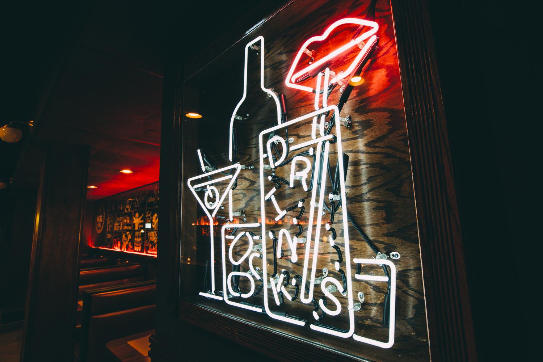 A bar's neon sign.