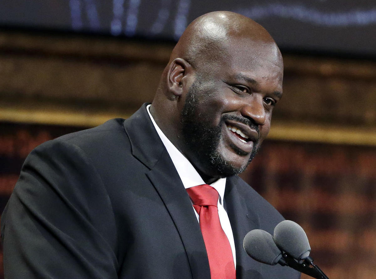 Basketball Hall of Fame inductee Shaquille O'Neal speaks during induction ceremonies at Symphony Hall, Friday, Sept. 9, 2016, in Springfield, Mass.