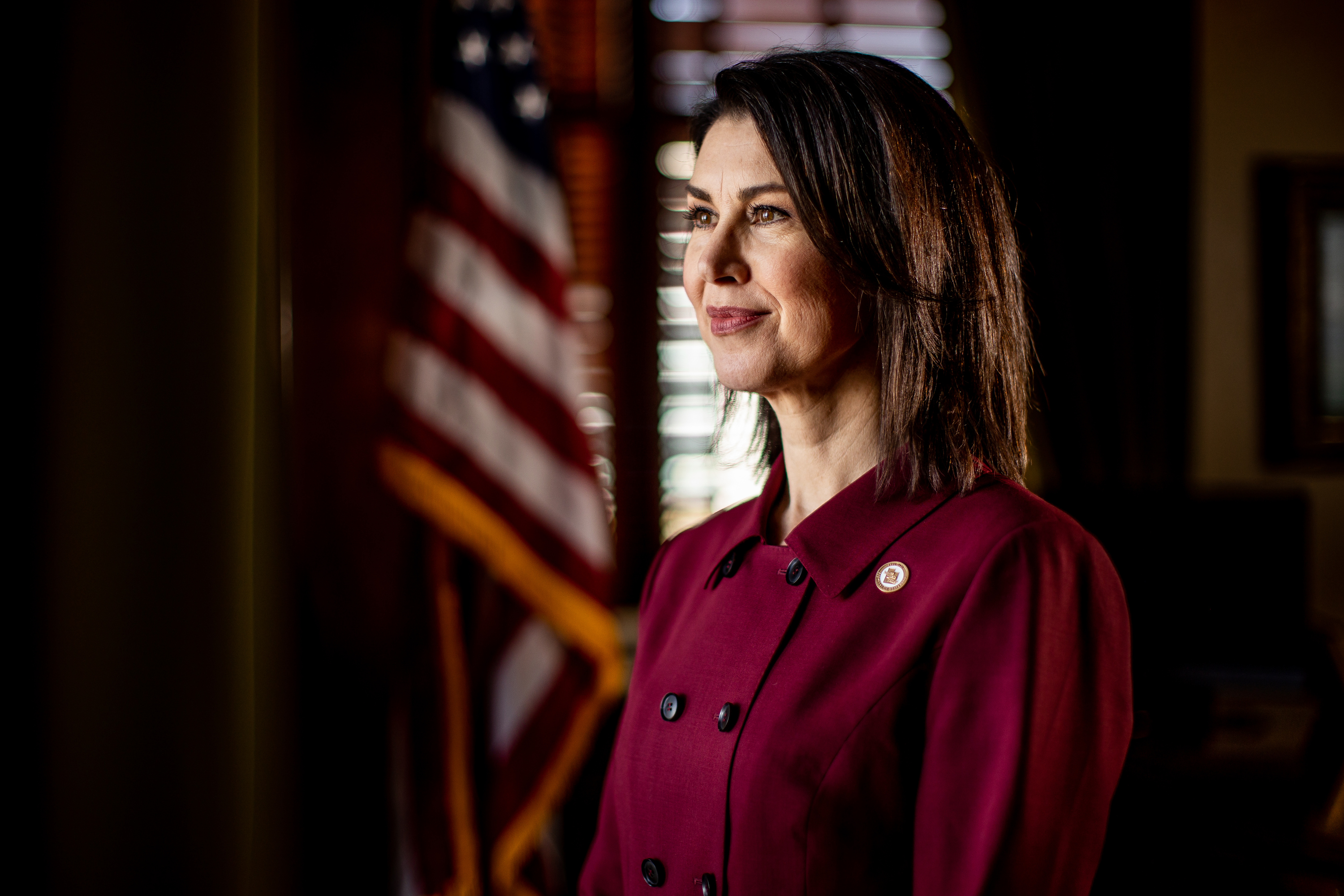 Lt. Gov. Deidre Henderson poses for a photo in her office at the Capitol in Salt Lake City on Friday, March 19, 2021.