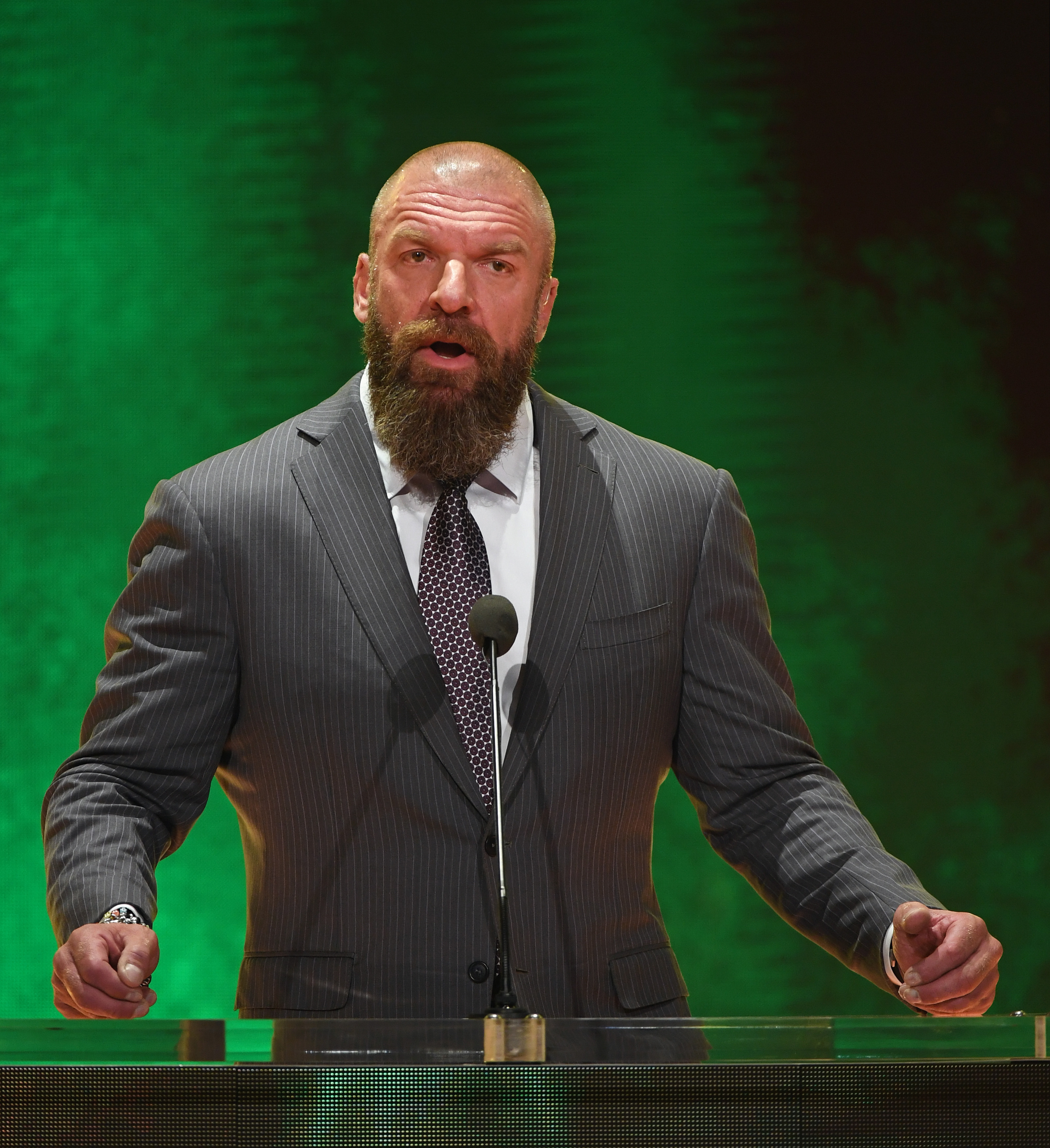 """WWE Executive Vice President of Talent, Live Events and Creative Paul """"Triple H"""" Levesque speaks at a WWE news conference at T-Mobile Arena on October 11, 2019 in Las Vegas, Nevada. It was announced that WWE wrestler Braun Strowman will face heavyweight boxer Tyson Fury and WWE champion Brock Lesnar will take on former UFC heavyweight champion Cain Velasquez at the WWE's Crown Jewel event at Fahd International Stadium in Riyadh, Saudi Arabia on October 31."""