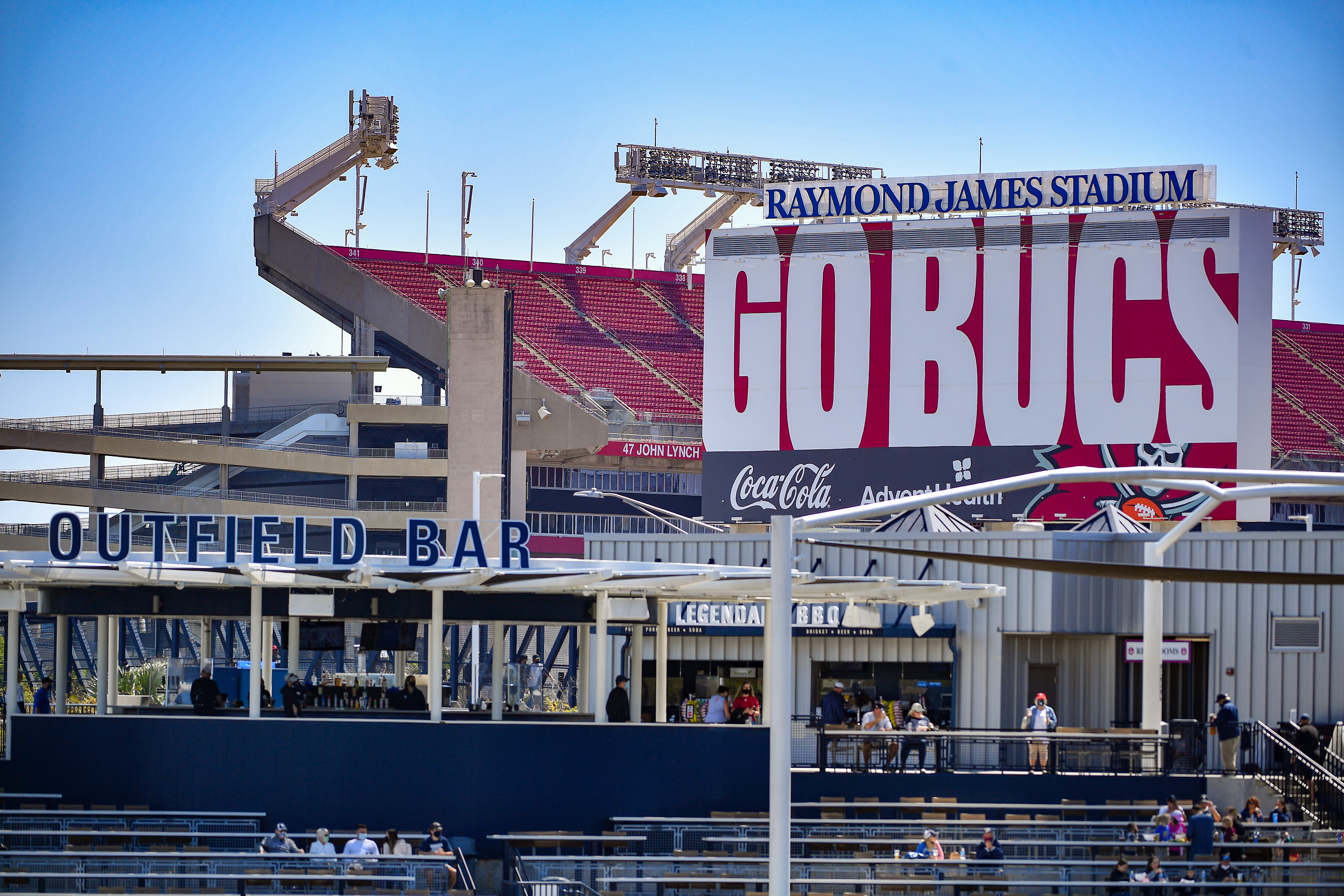 A general view of Raymond James Stadium behind the outfield bar during the spring training game between the New York Yankees and the Philadelphia Phillies at George M. Steinbrenner Field on March 07, 2021 in Tampa, Florida.