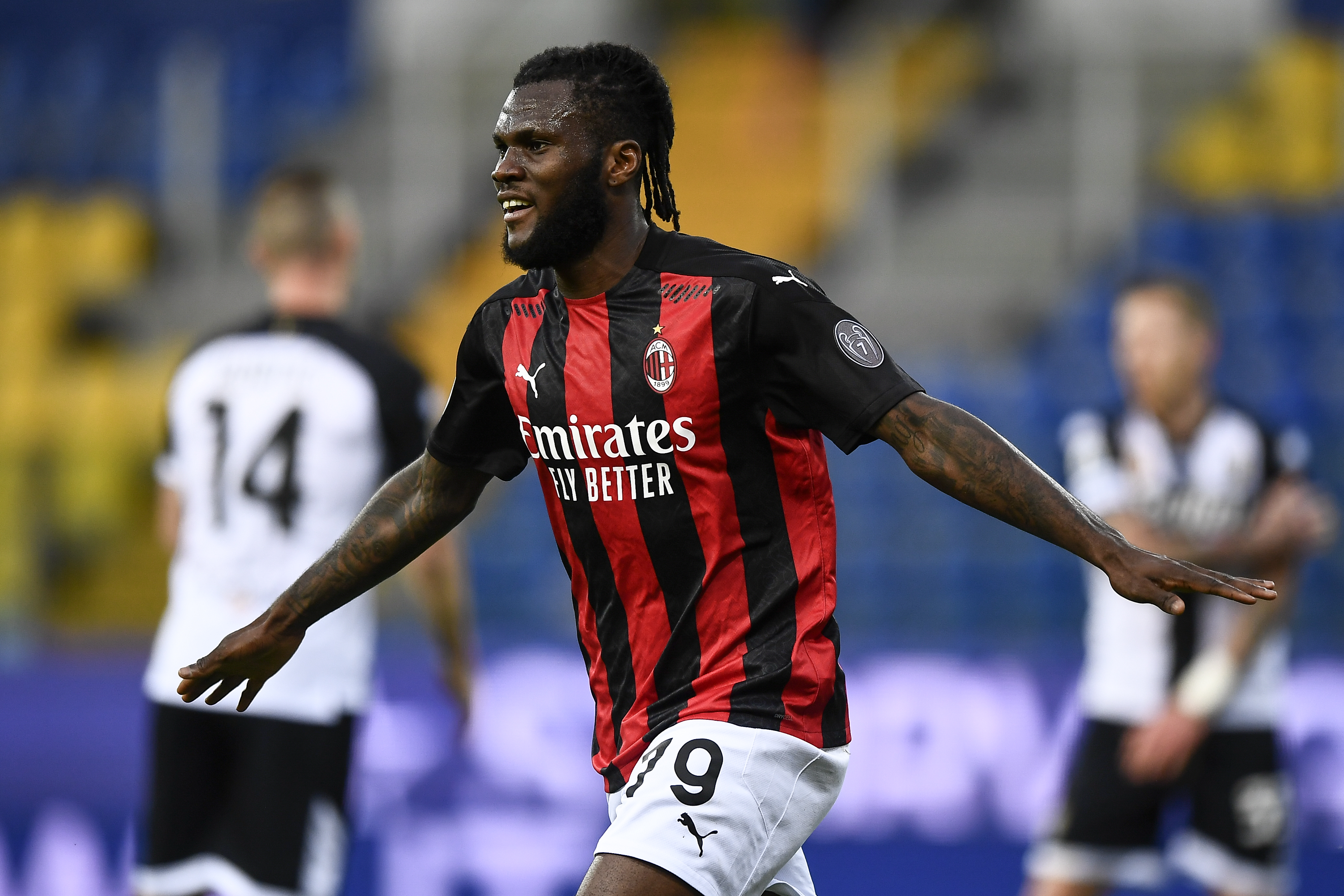 Franck Kessie of AC Milan celebrates after scoring a goal...