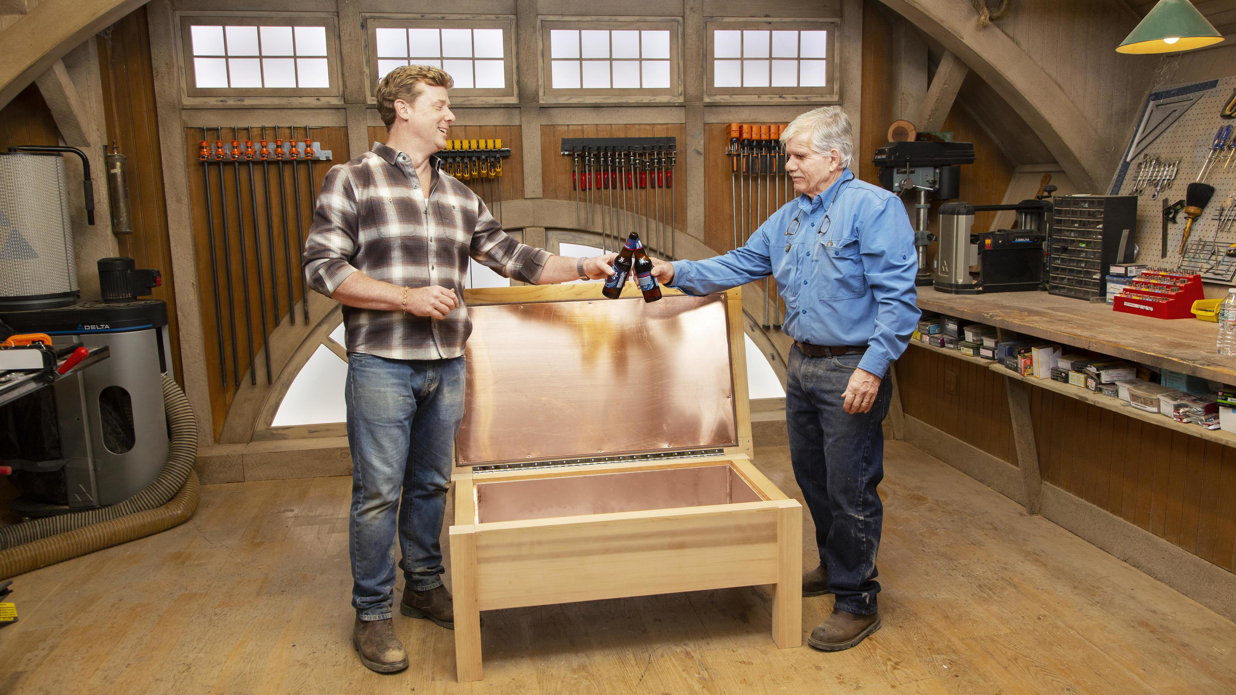Fall 2021, Build It Cooler Bench, Tom Silva and Kevin O'Connor toast the finished cooler bench