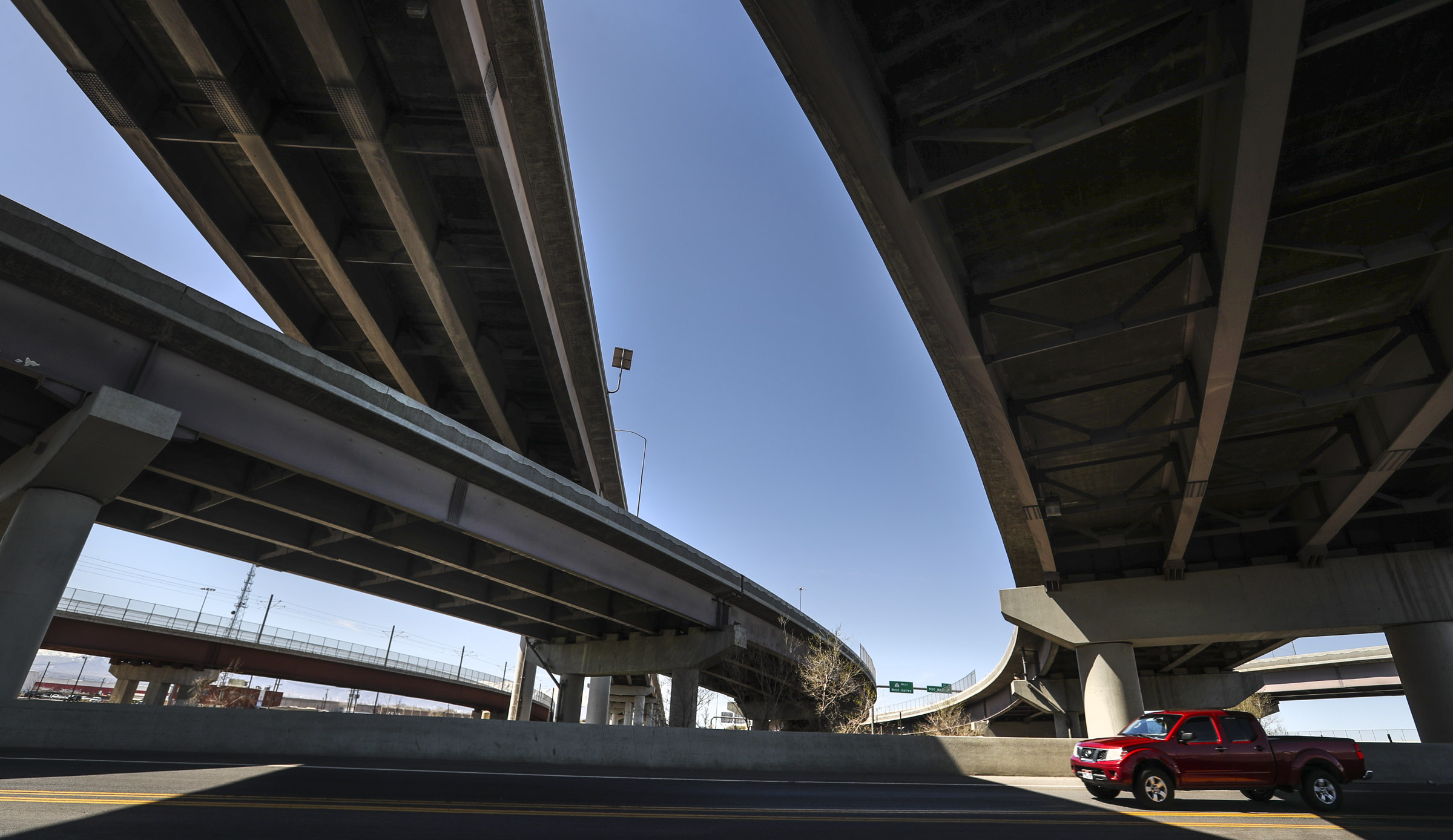 The I-80 and I-15 interchange overpasses cross over 600 West in South Salt Lake on Wednesday, April 7, 2021.