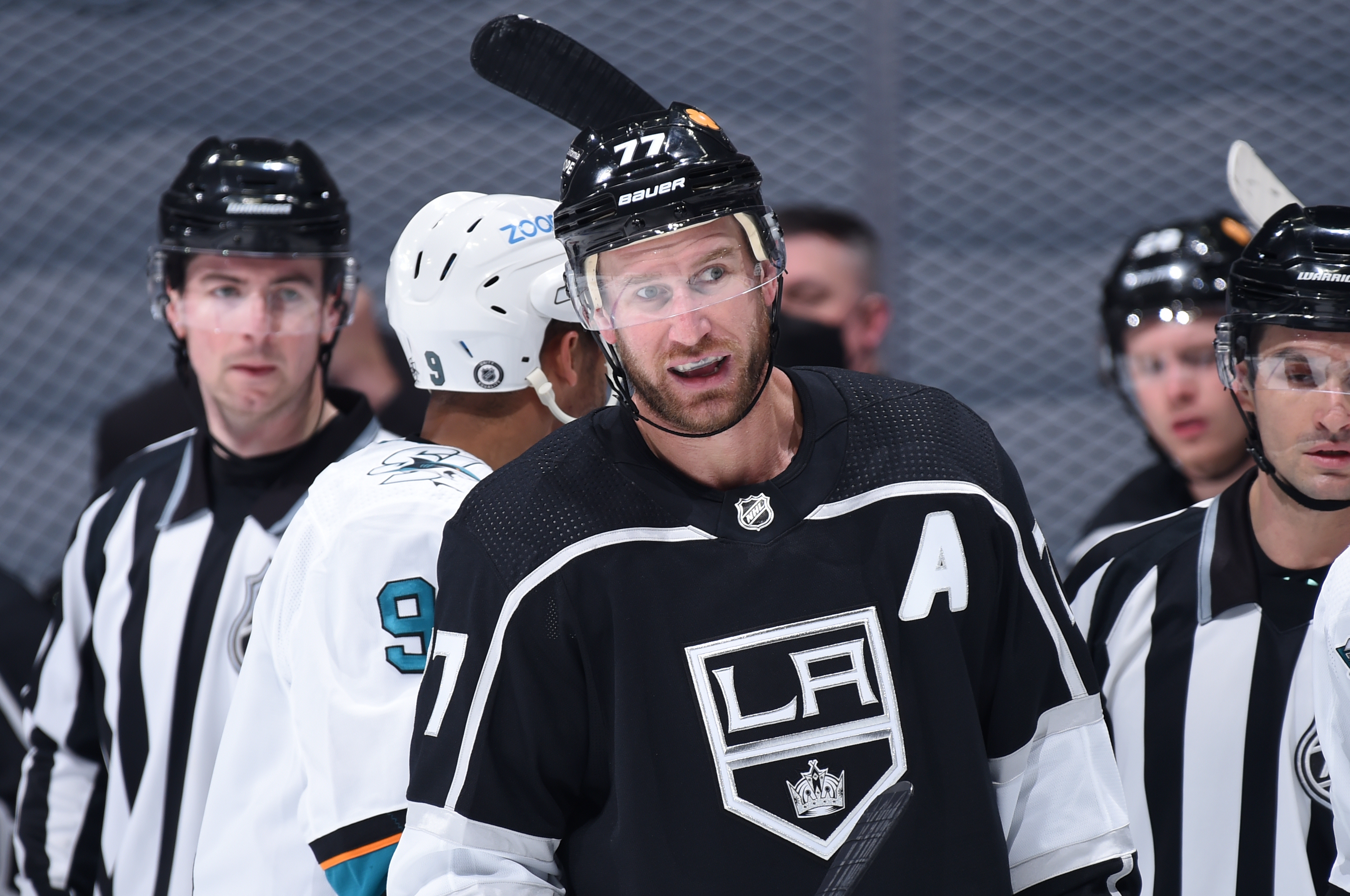 Jeff Carter #77 of the Los Angeles Kings looks on during the second period against the San Jose Sharks at STAPLES Center on April 2, 2021 in Los Angeles, California.