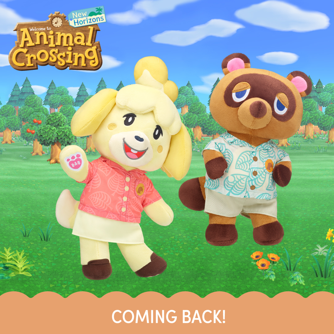 plush toys of Animal Crossing: New Horizons' Isabella and Tom Nook. Isabelle is waving and Tom Nook looks aloof
