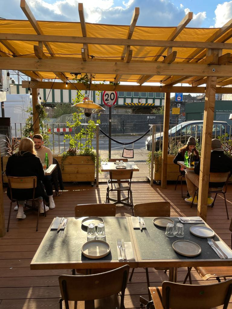 The terrace at Ombra on the day restaurants reopened for outdoor dining in London