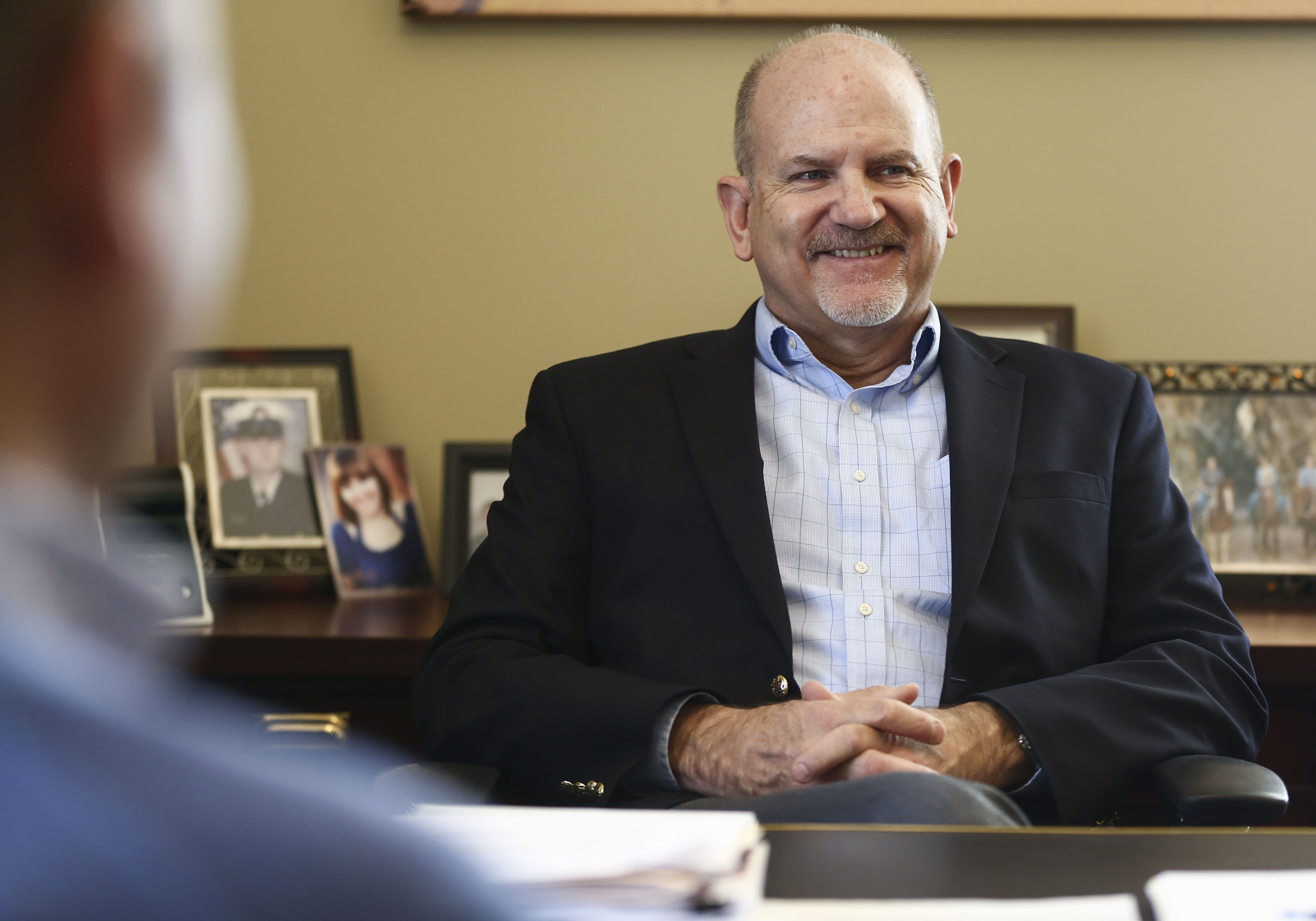 Utah State Treasurer David Damschen works in his office at the Capitol in Salt Lake City on Jan. 25, 2019. Damschen is tasked to find ways for medical marijuana businesses and state agencies to get or maintain banking services.