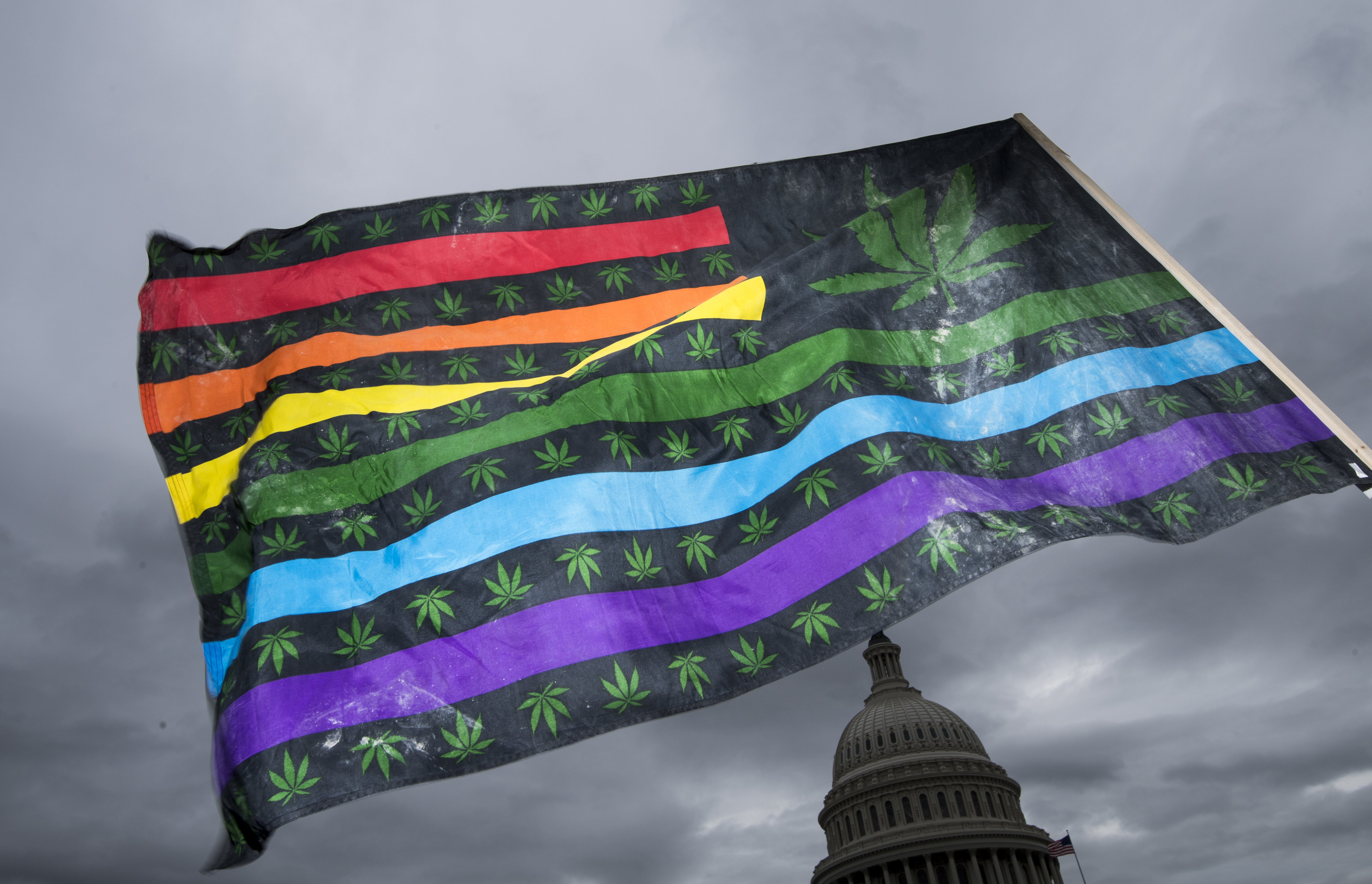 A marijuana-themed US flag flies during a protest on October 8, 2019, at the US Capitol.