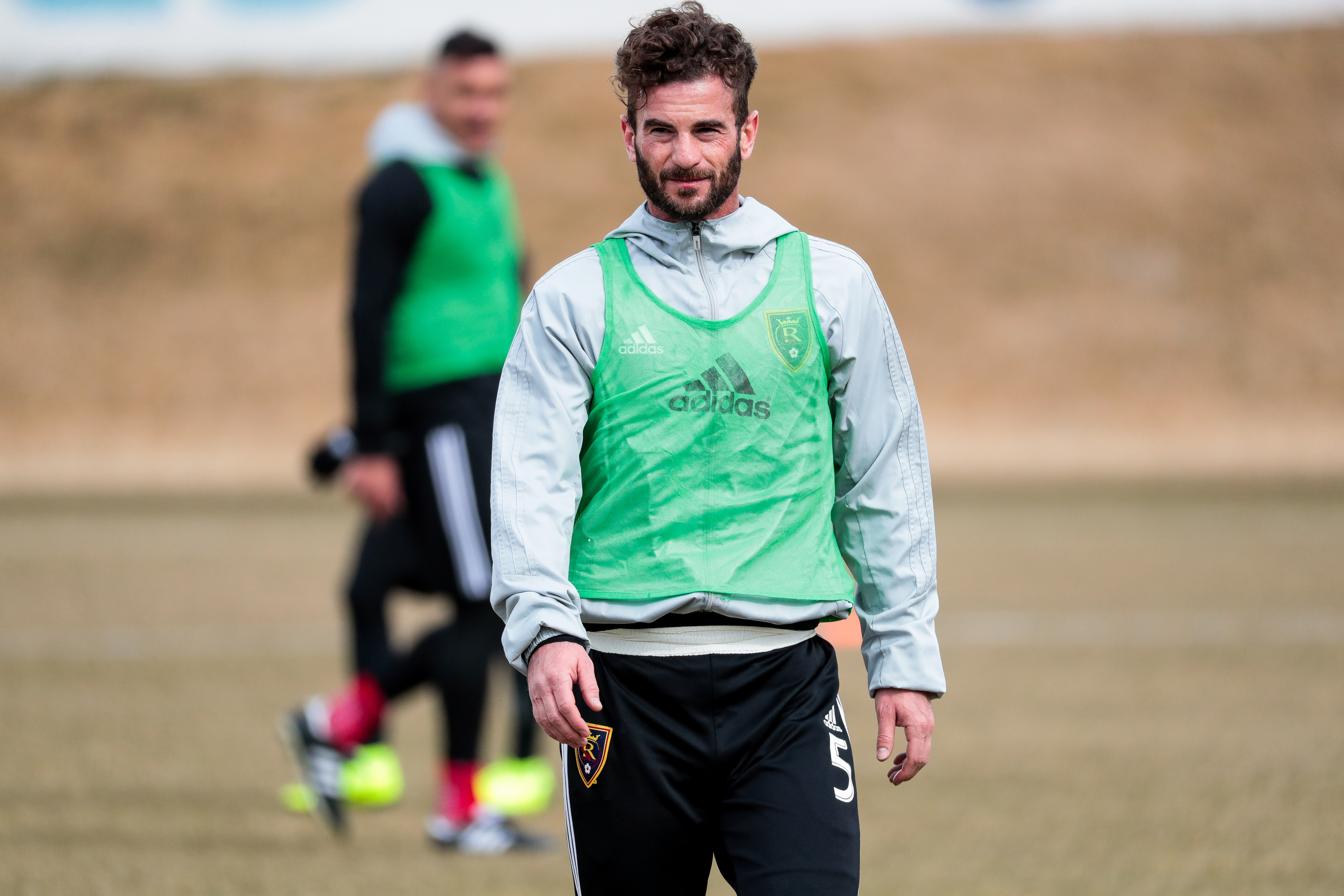Kyle Beckerman walks the field during a Real Salt Lake practice at America First Field in Sandy on Thursday, Feb. 28, 2019.
