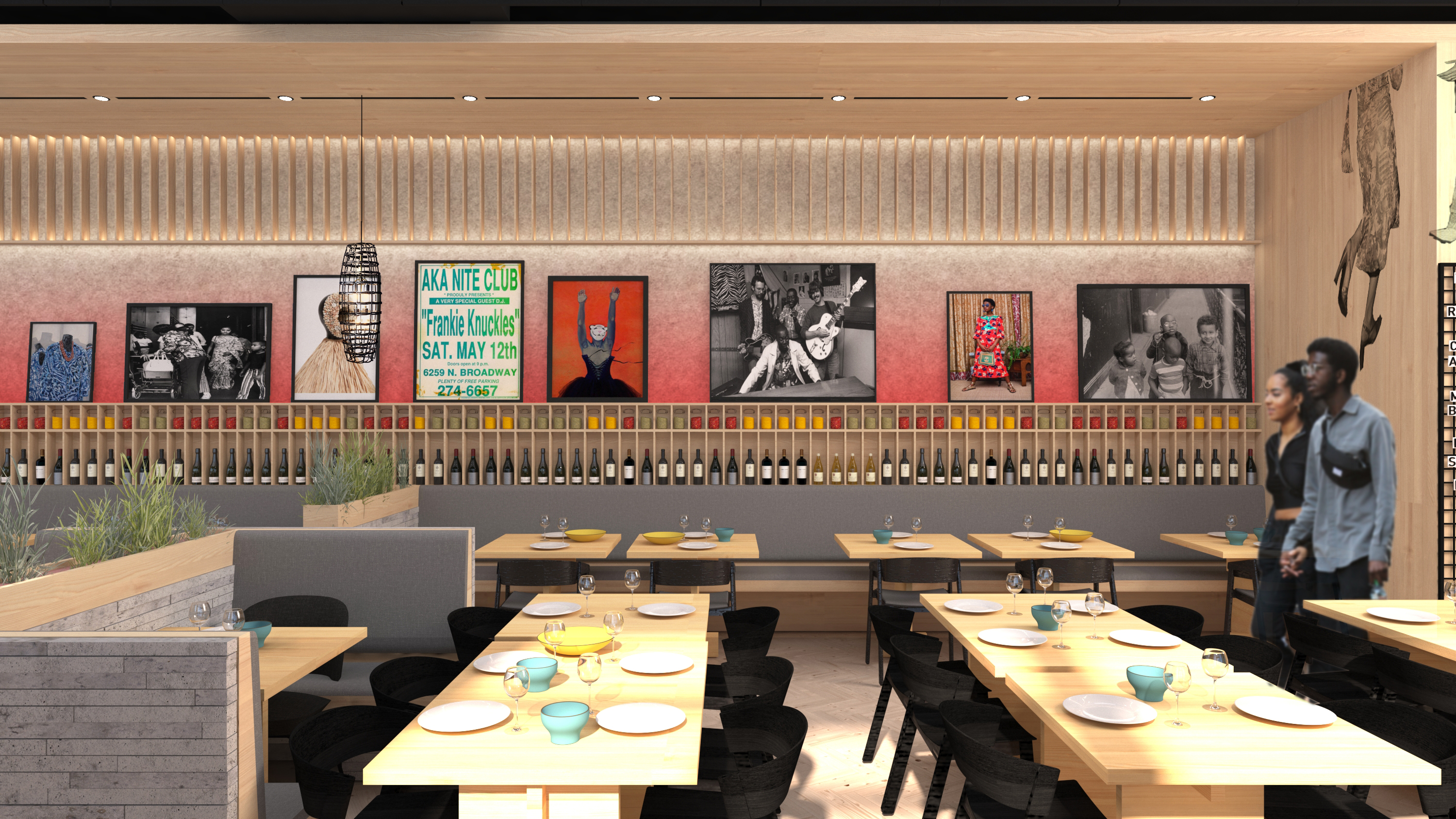 An interior rendering of Bronzeville Winery, slated for a summer 2021 opening.