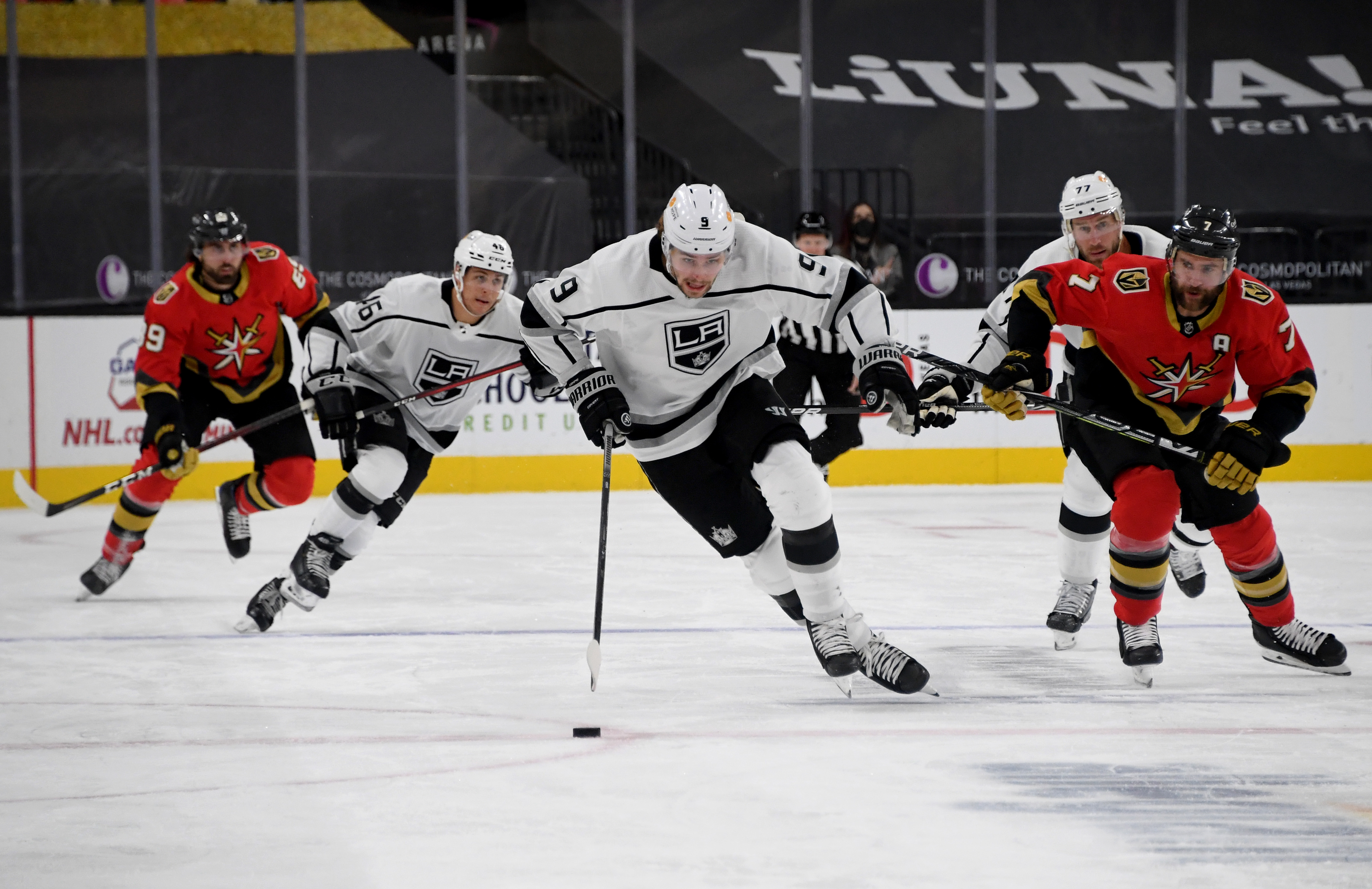 Adrian Kempe #9 of the Los Angeles Kings skates with the puck against the Vegas Golden Knights in the first period of their game at T-Mobile Arena on March 31, 2021 in Las Vegas, Nevada. The Kings defeated the Golden Knights 4-2.
