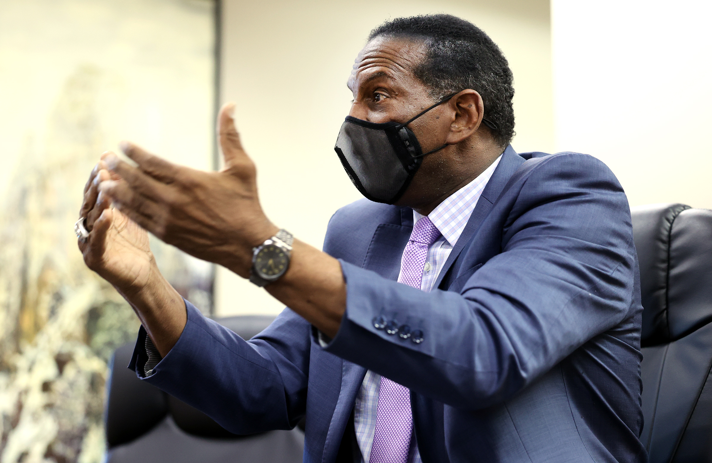 Rep. Burgess Owens R-Utah, talks during an interview at his West Jordan offices on Monday, April 12, 2021.