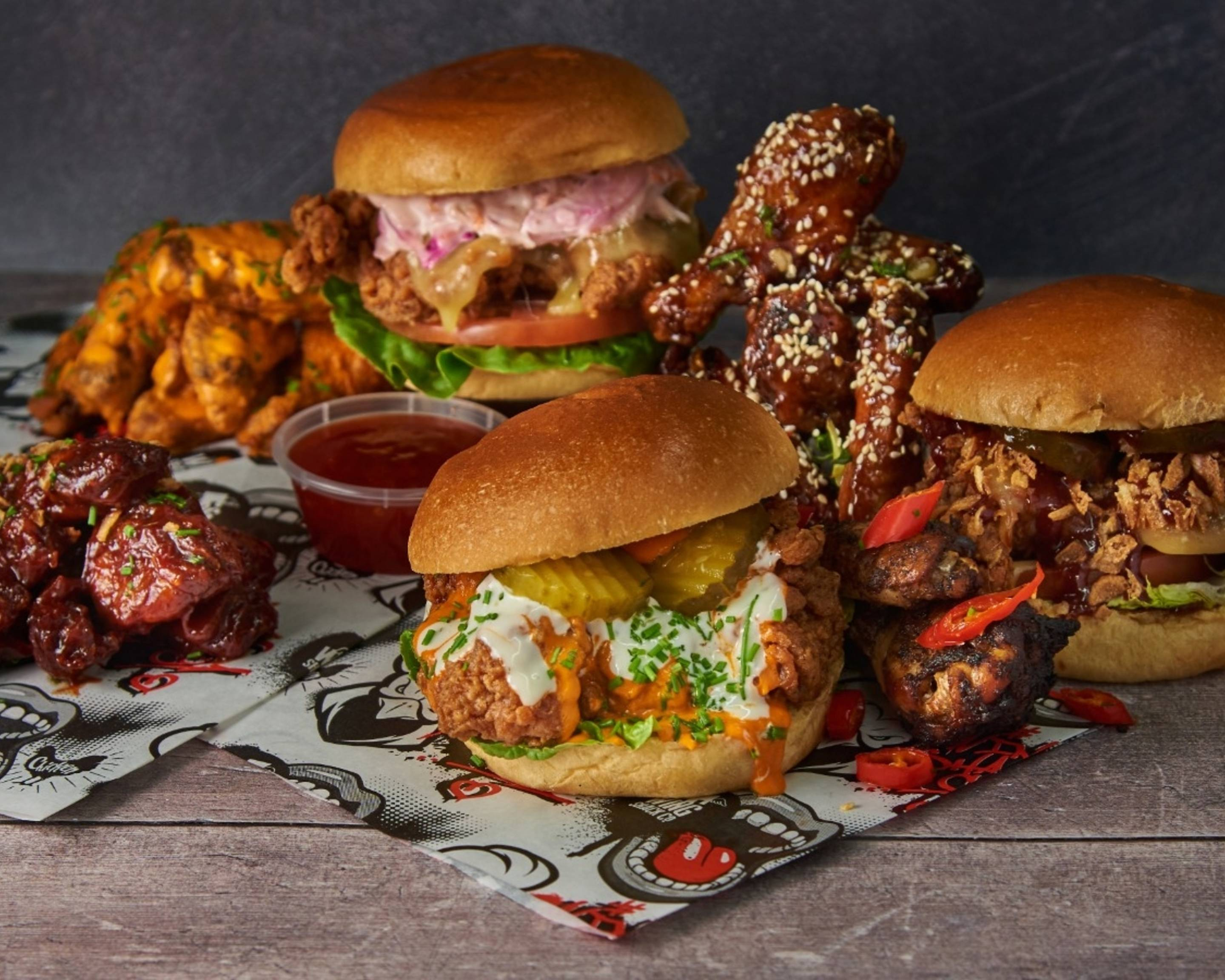 An absurd range of chicken wings and chicken wing burgers from Wing Shack Co