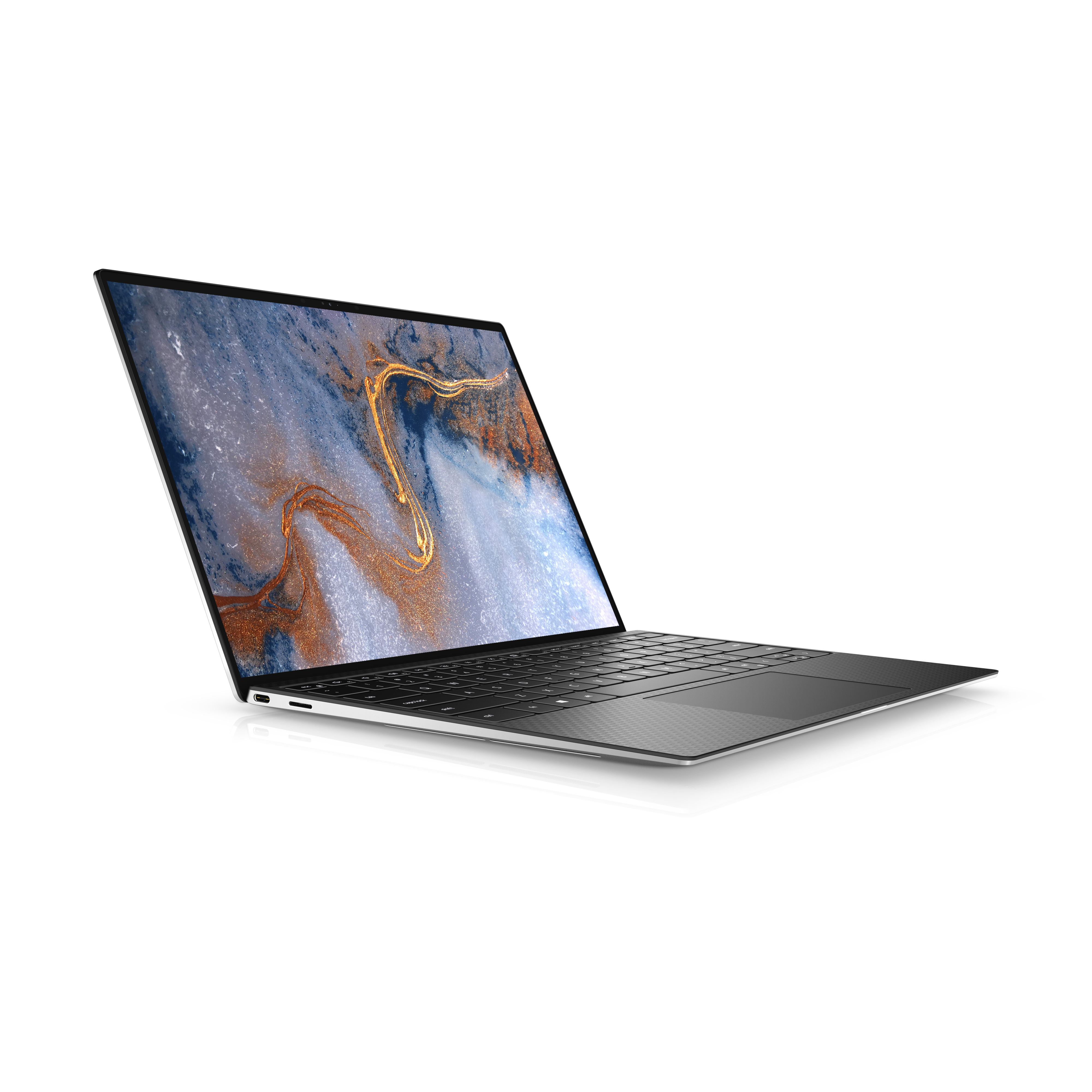 The Dell XPS 13 seen from the left side on a white background. The screen displays a blue, white, and orange marbled pattern.