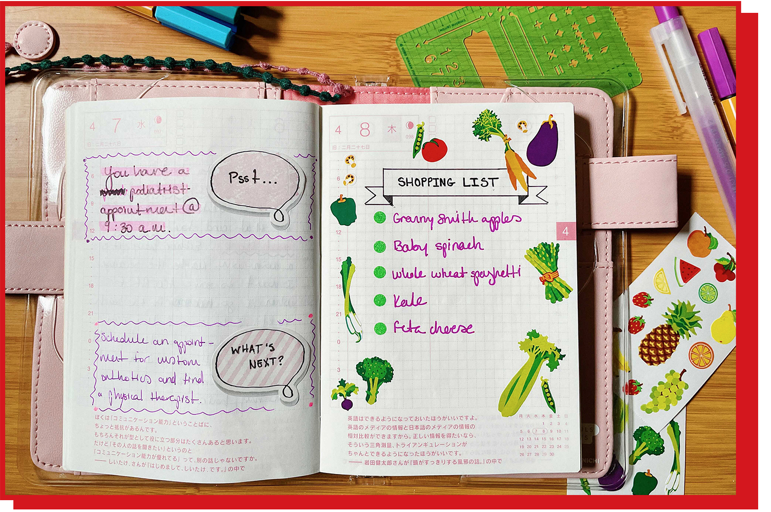 An open planner with a written list of items and assorted stickers of fruits and vegetables.