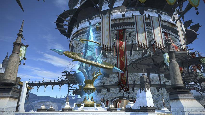 The aetheryte in Limsa Lominsa in Final Fantasy 14