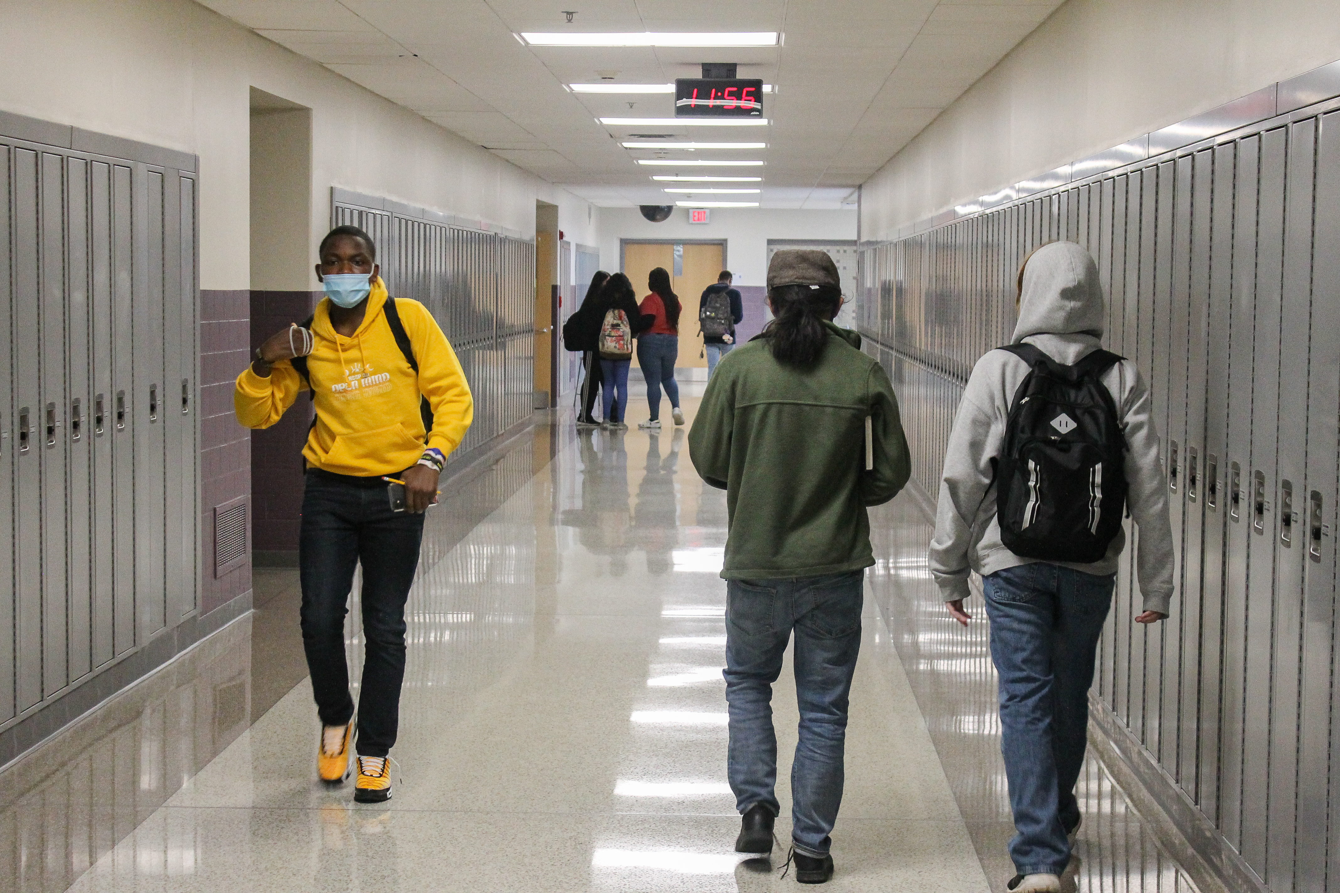 Scenes from Ben Davis High School in Indianapolis, Ind. on Friday, April 9, 2021. This was the first week back full-time since the beginning of the pandemic for Wayne Township Schools.