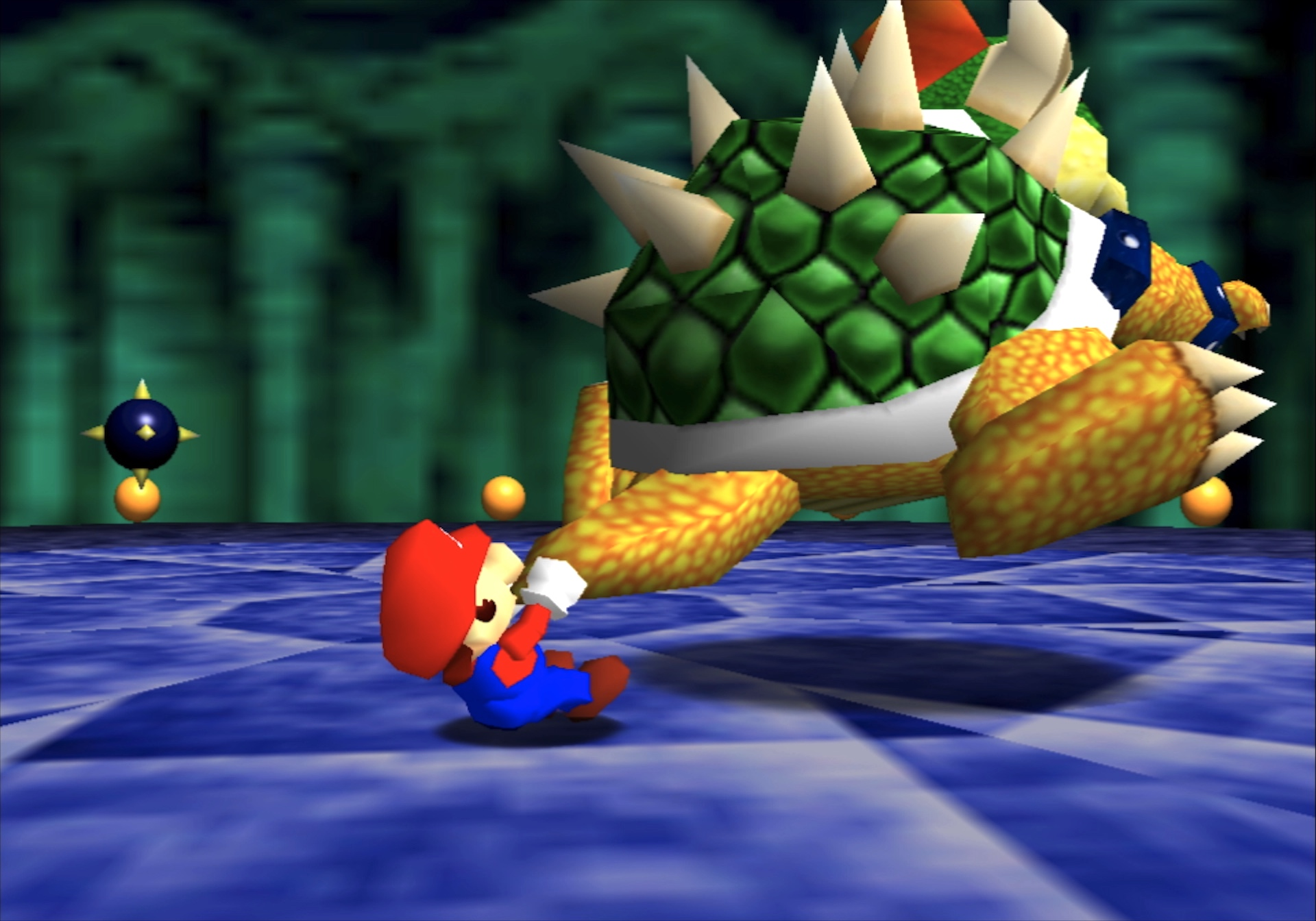 Mario swings Bowser by the tail in a boss fight from Super Mario 64