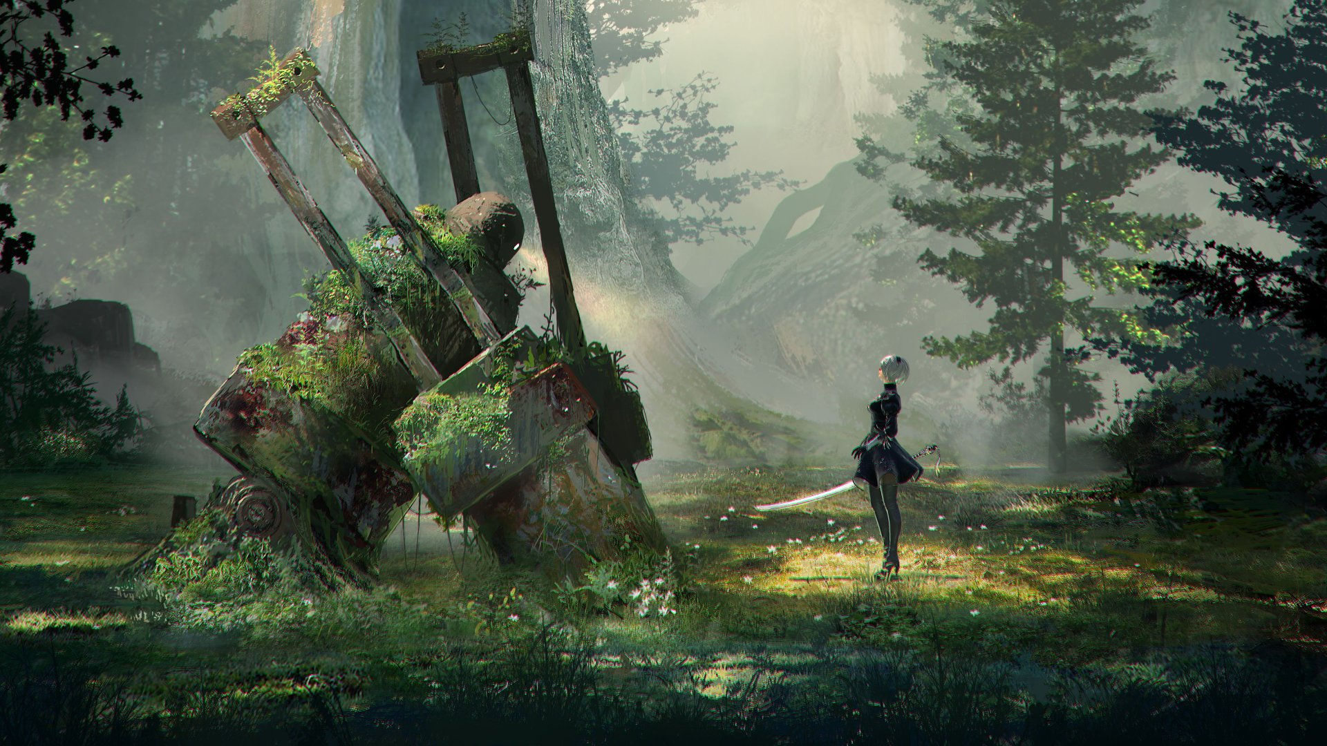 In a piece of concept art, a figure with sword and shield stands in profile, viewing a kind of shrine or natural formation of some significance