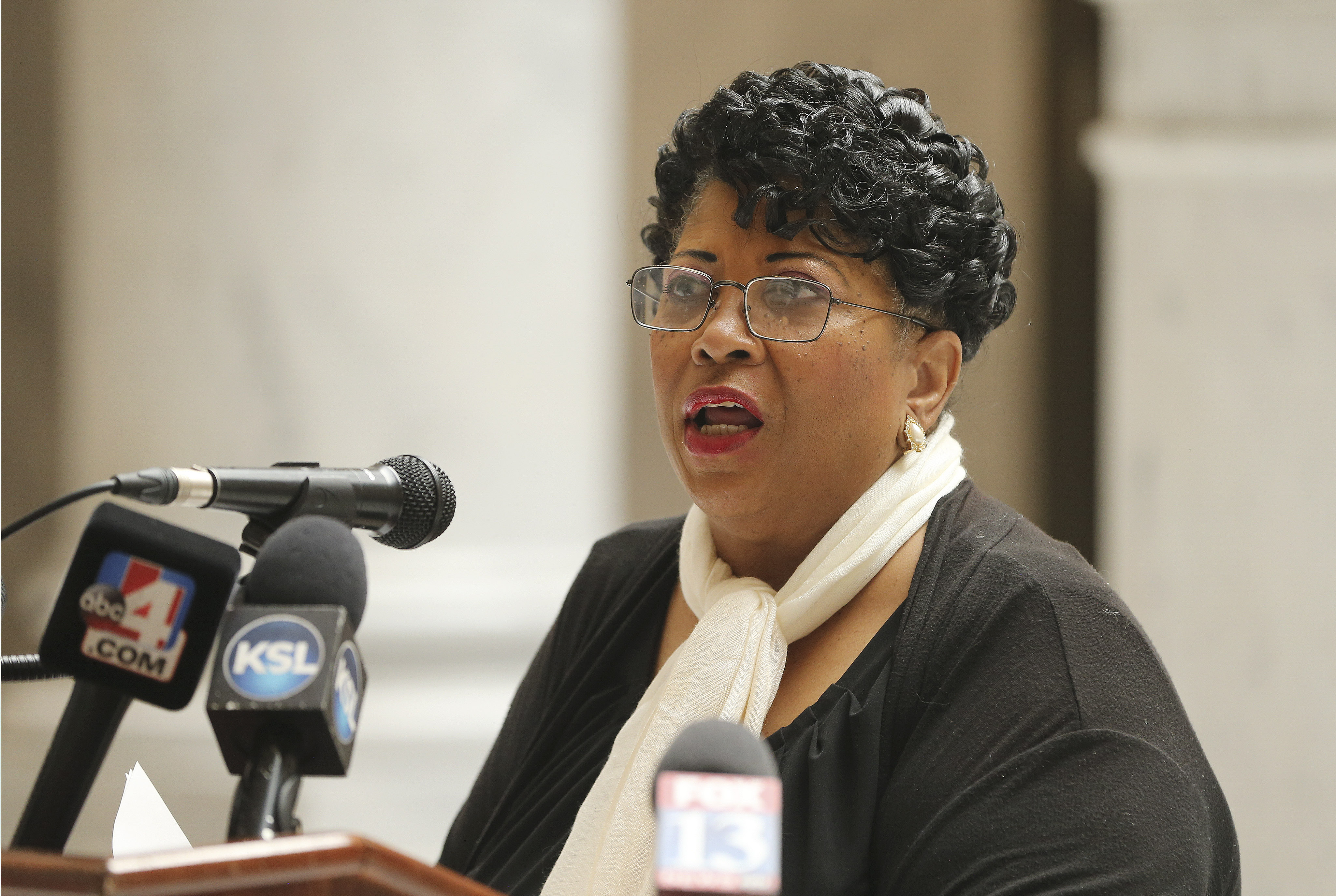 Jeanetta Williams, president of NAACP Salt Lake Branch and the NAACP Tri-State Conference of Idaho-Nevada-Utah, speaks during a press conference at the Capitol in Salt Lake City on Friday, June 5, 2020. Speakers proposed legislation on police relationships with community and broad goals for community discussion to address long-standing nationwide concerns.
