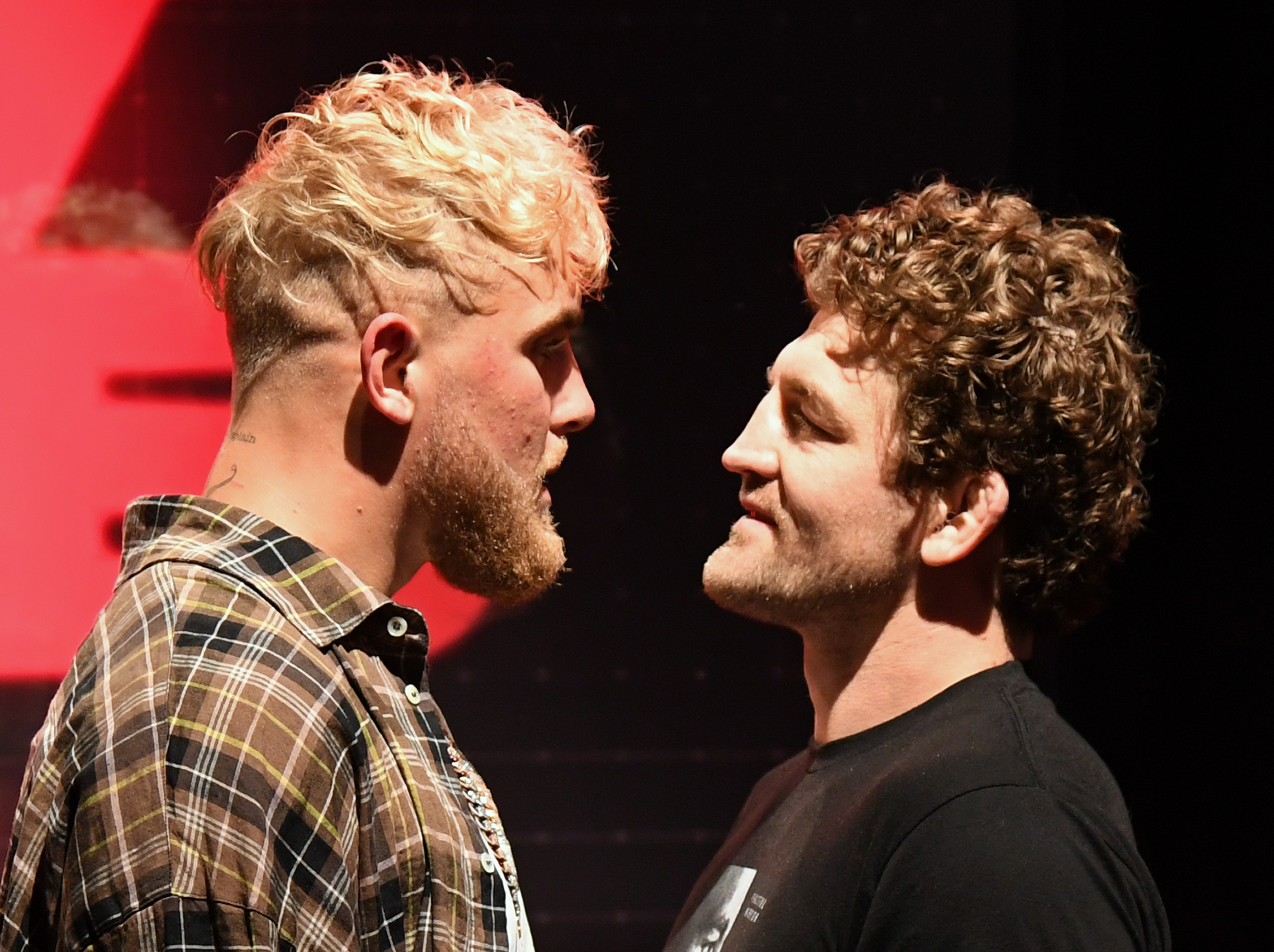 Jake Paul and Ben Askren face off after a press conference for their Triller boxing PPV event.