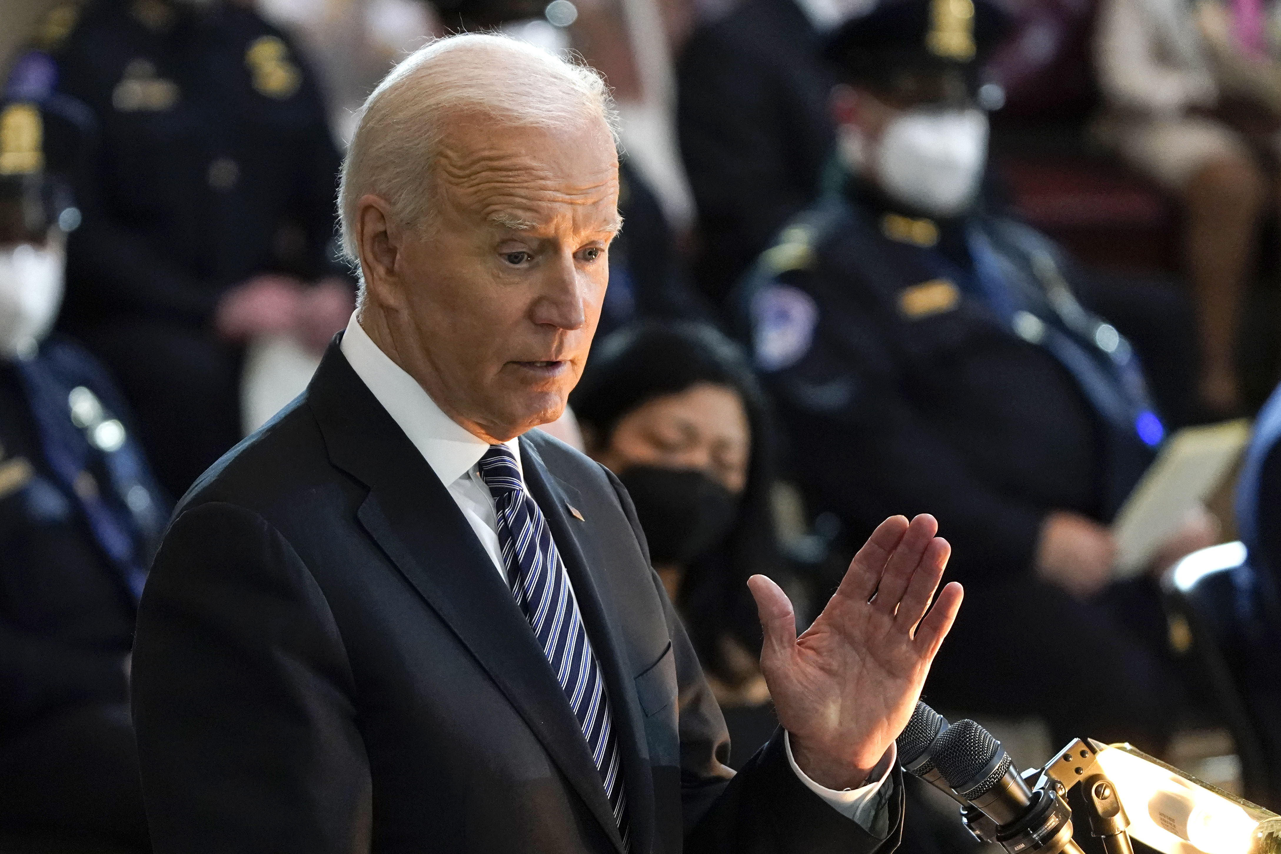 """President Joe Biden speaks during a ceremony to honor slain U.S. Capitol Police officer William """"Billy"""" Evans as he lies in honor at the Capitol in Washington, Tuesday, April 13, 2021."""