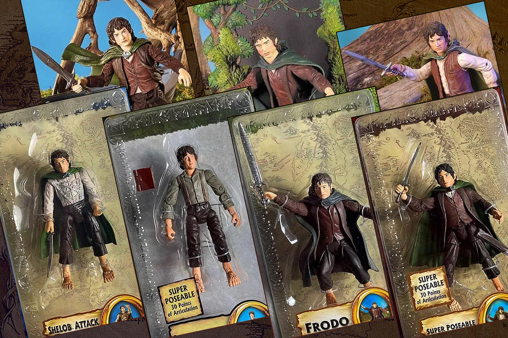 Graphic featuring seven different Frodo action figures from the Lord of the Rings movies