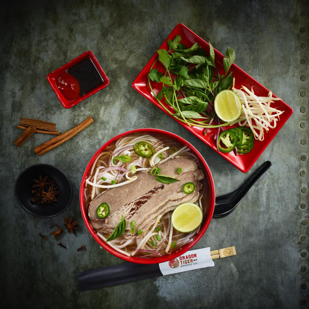Chef Jet Tila's Hokkaido beef and rice noodle bowl, now being served at Dragon Tiger Noodle Co in Southern Highlands and Henderson.