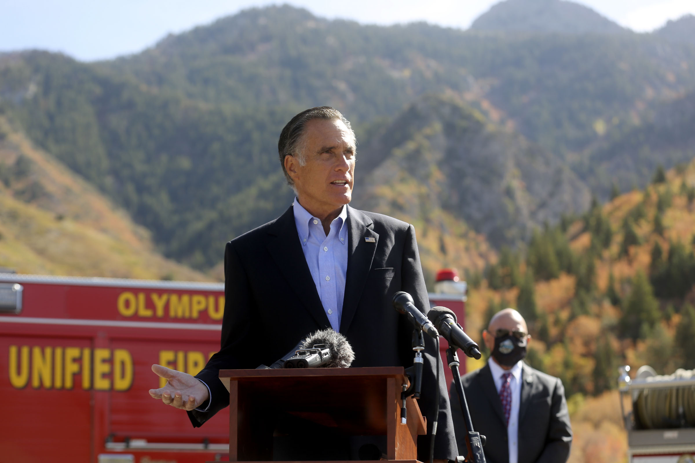 Sen. Mitt Romney, R-Utah, talks about his plan to establish a wildfire commission, to review national wildfire policies and make recommendations to Congress, during a press conference at the Neff's Canyon trailhead in Millcreek on Thursday, Oct. 15, 2020.