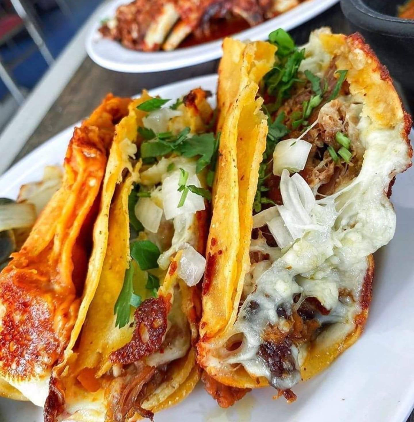 Birria tacos on a white plate.