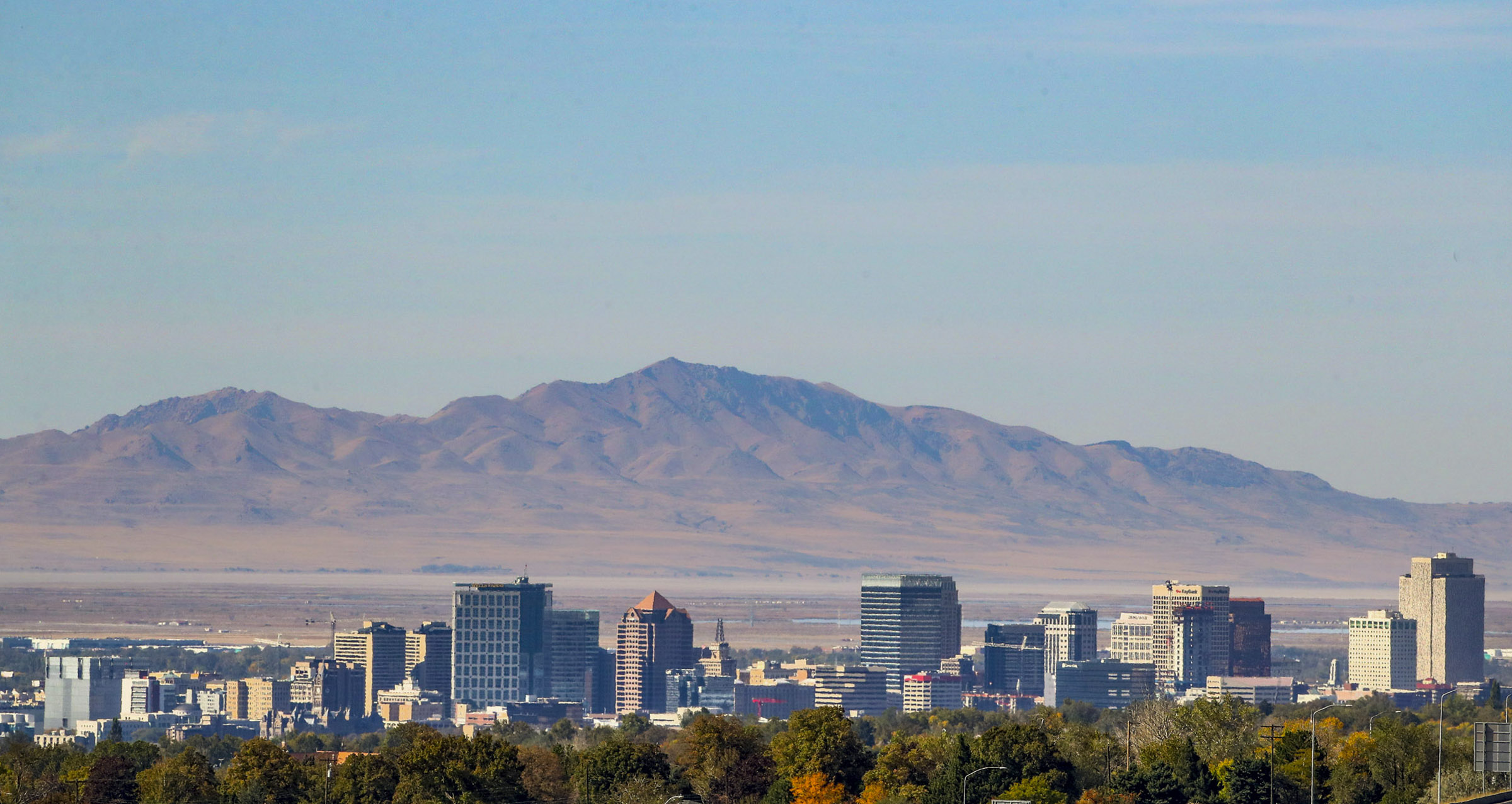 Downtown Salt Lake City is pictured on Monday, Oct. 12, 2020.